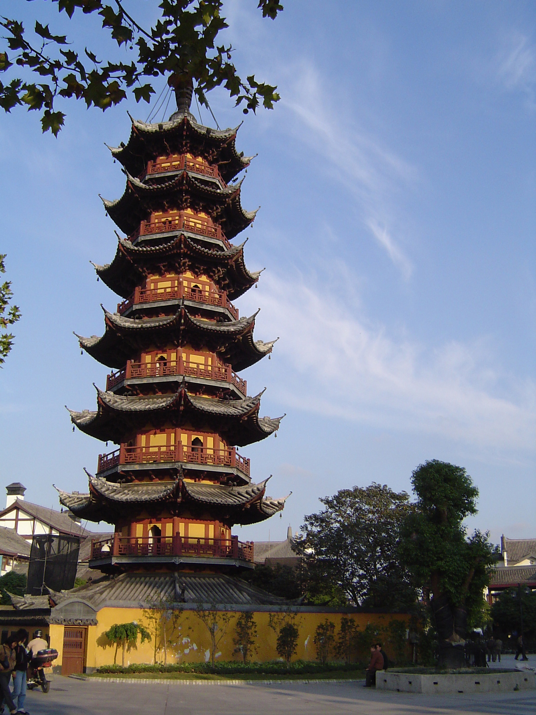 Famous Historic High Pagoda Building in China. Captured in Light Blue Sky Background.