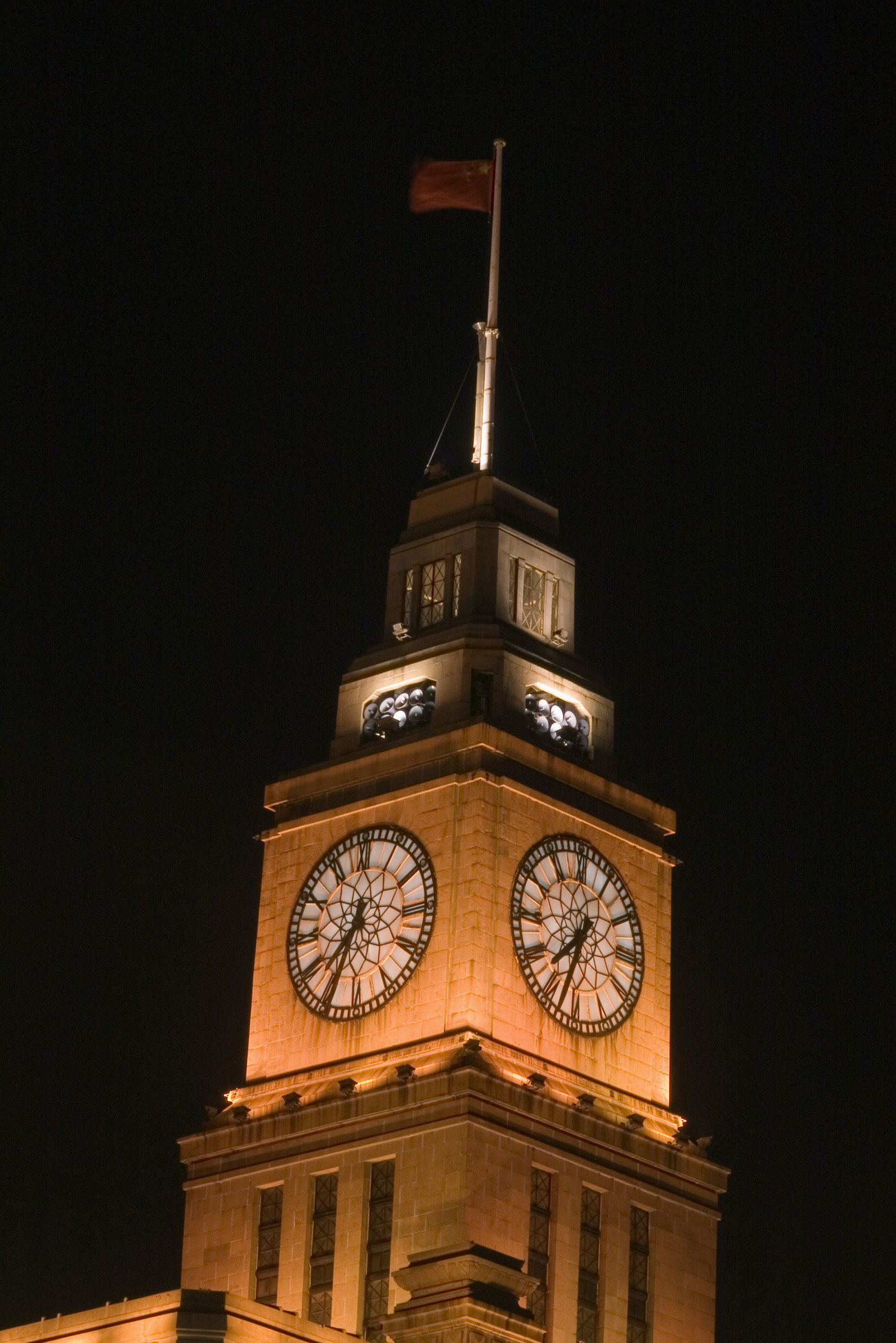 Famous Big Clock on Eight Storey Custom House Wall at the Bund, Shanghai China. Captured at Night Time.