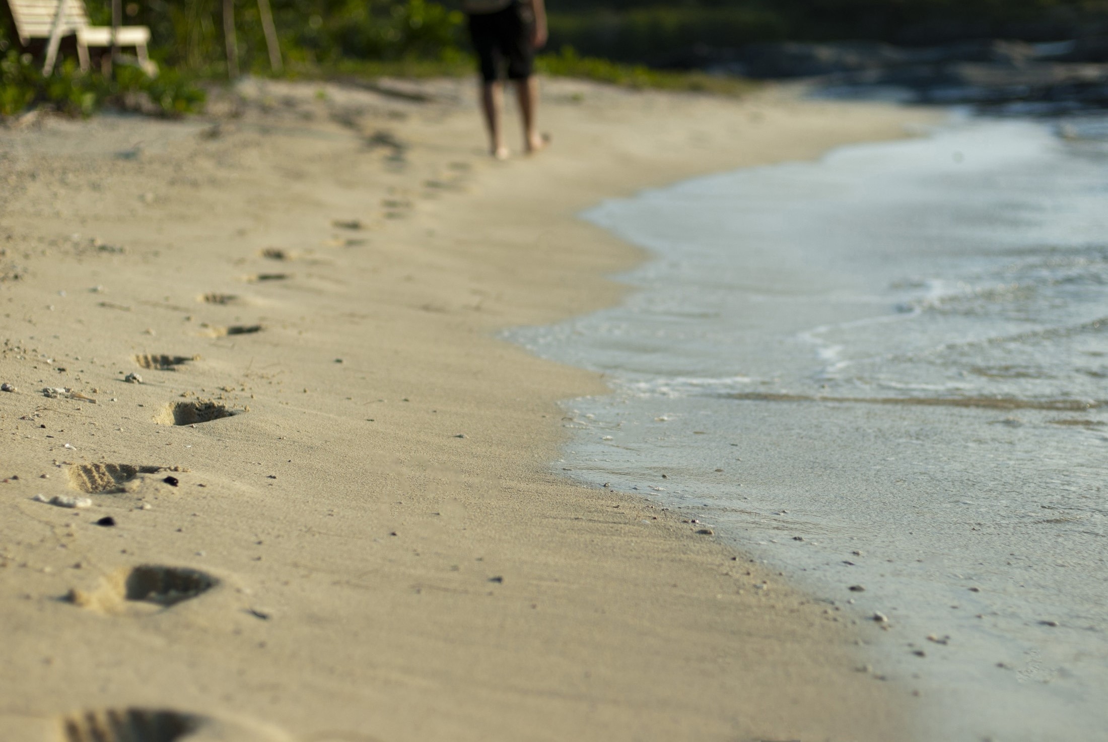 Man disappearing into the distance walking on a sandy beach close to the sea with footprints and shallow dof
