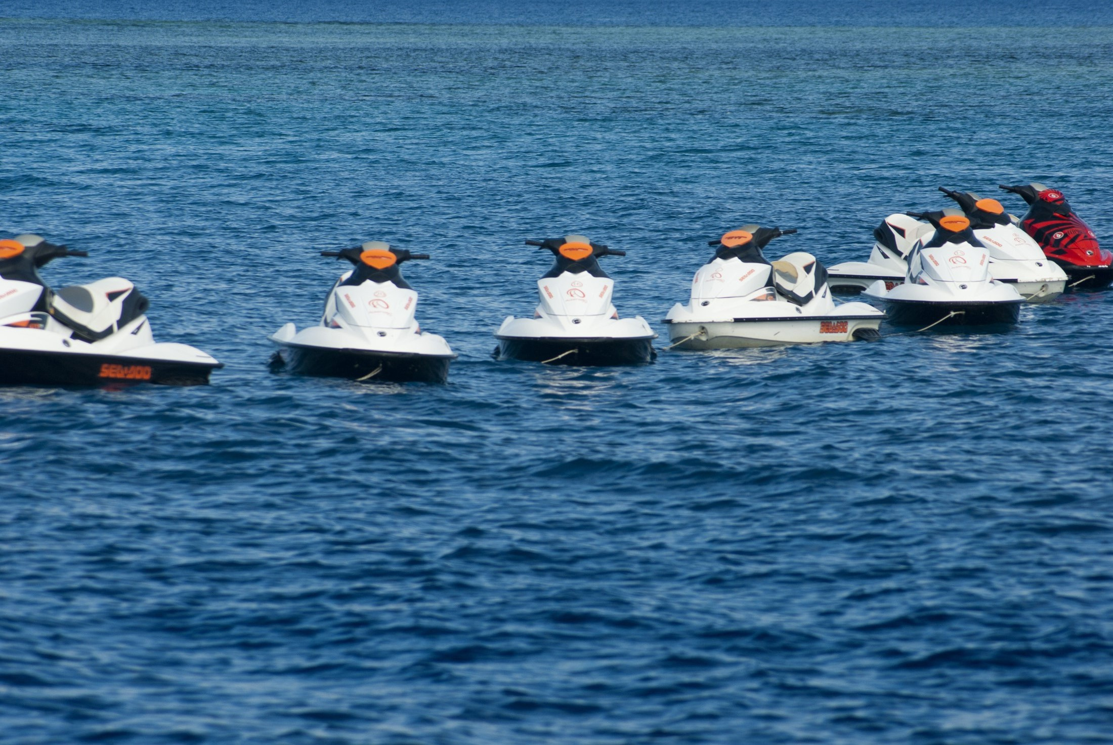 Jet skis moored in a line on open ocean waiting to be taken out on the water for personal enjoyment and recreation