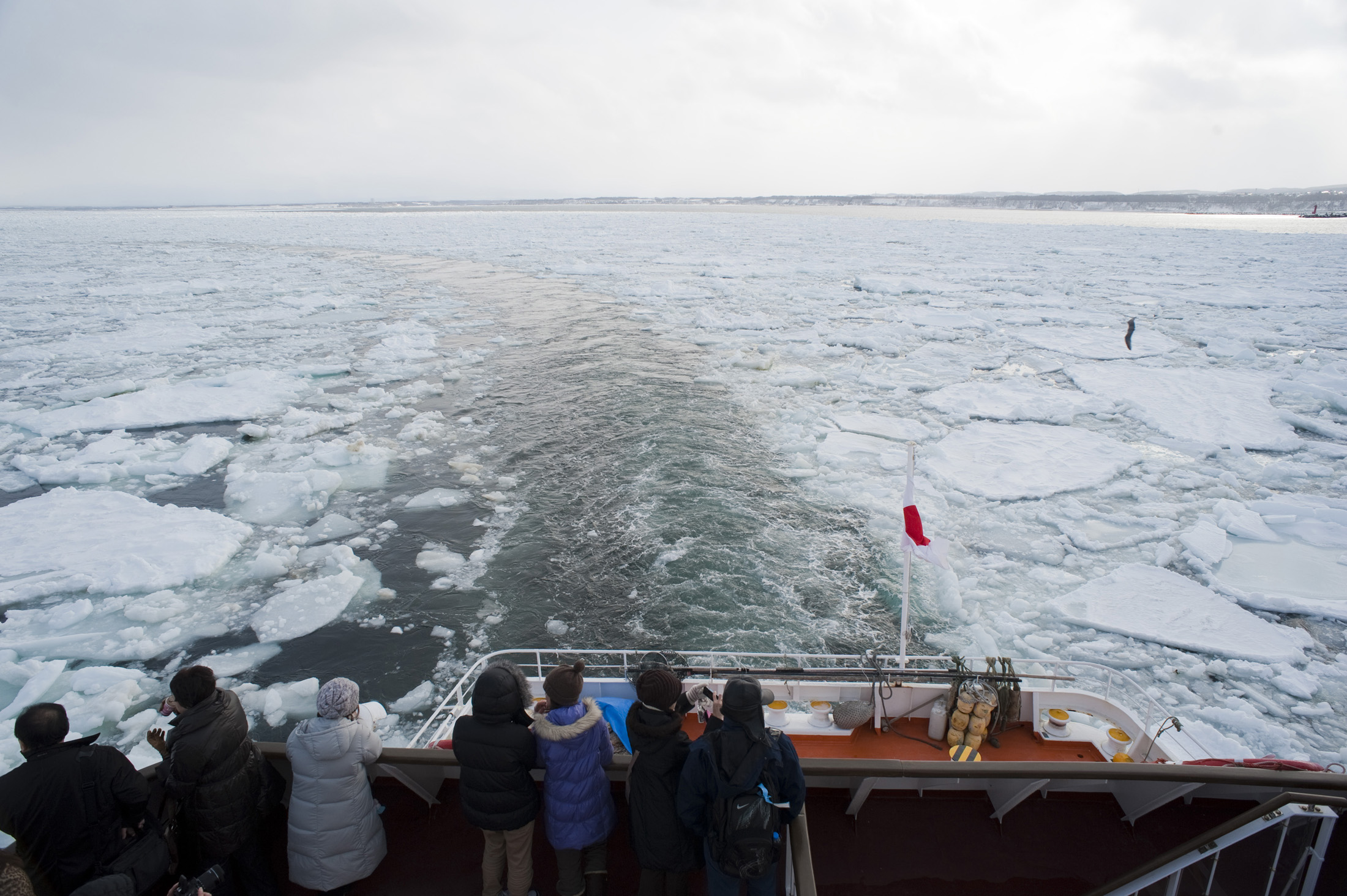 View from the  back of the Aurora ice breaker, Abashiri, Hokkaido, Japan