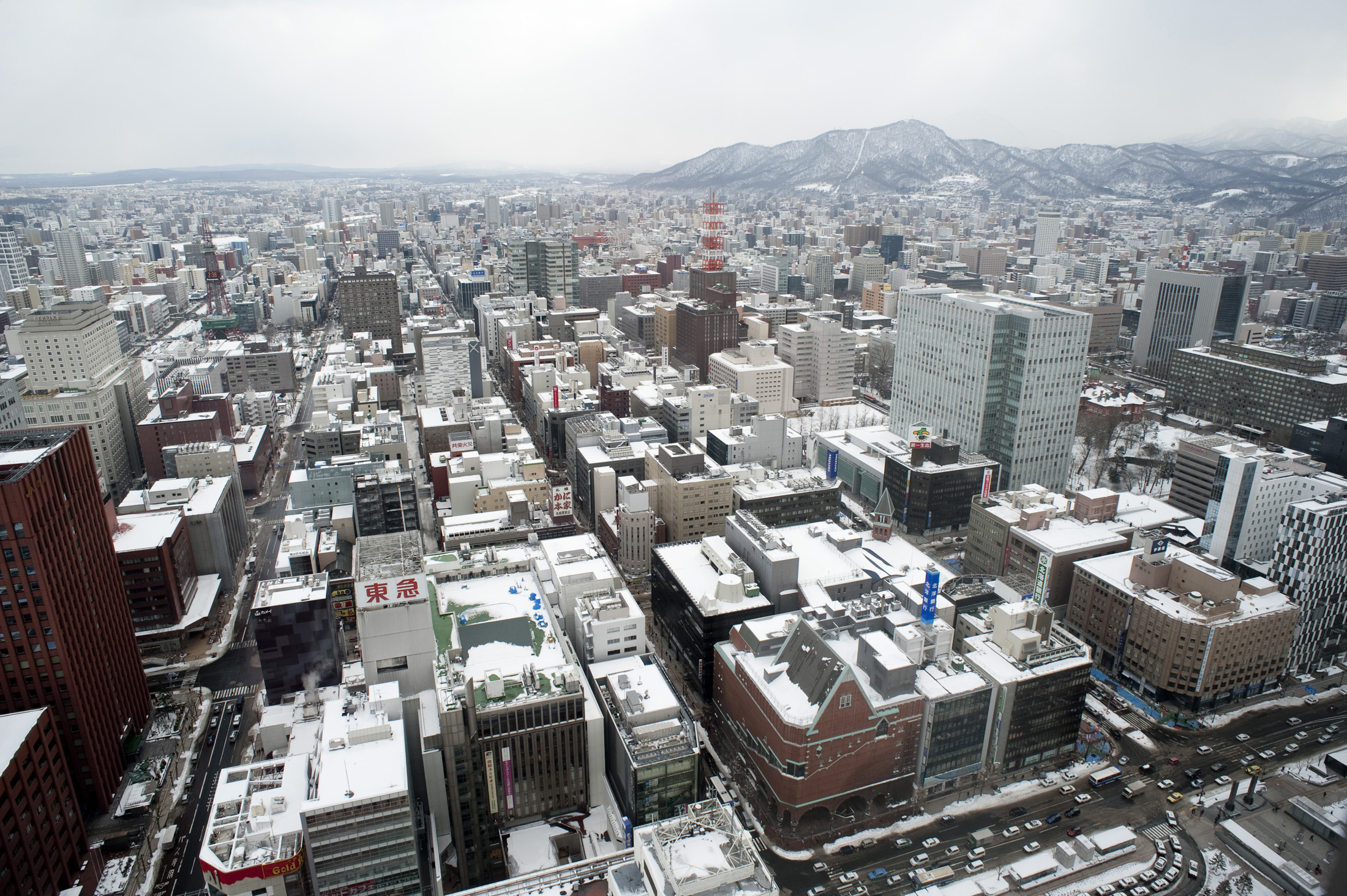 Arial view of Sapporo as viewed from the JR tower in winter
