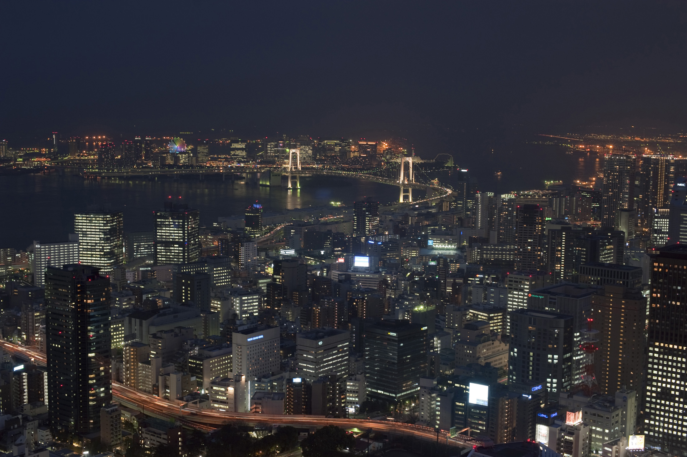 aerial view of tokyo at night featuring the rainbow bridge
