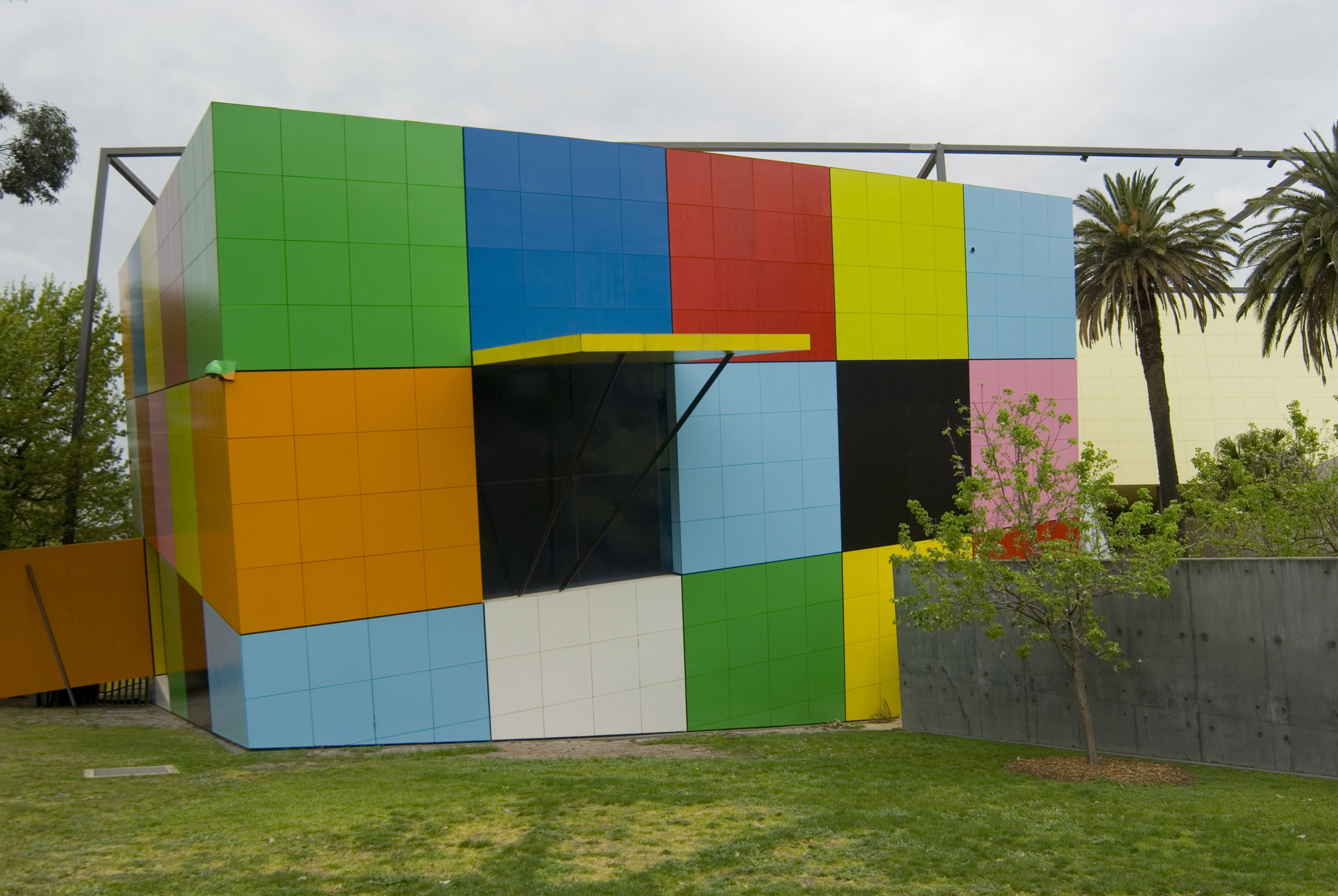 Colourful building blocks and architectural design on the exterior of the Melbourne Museum building in Australia.