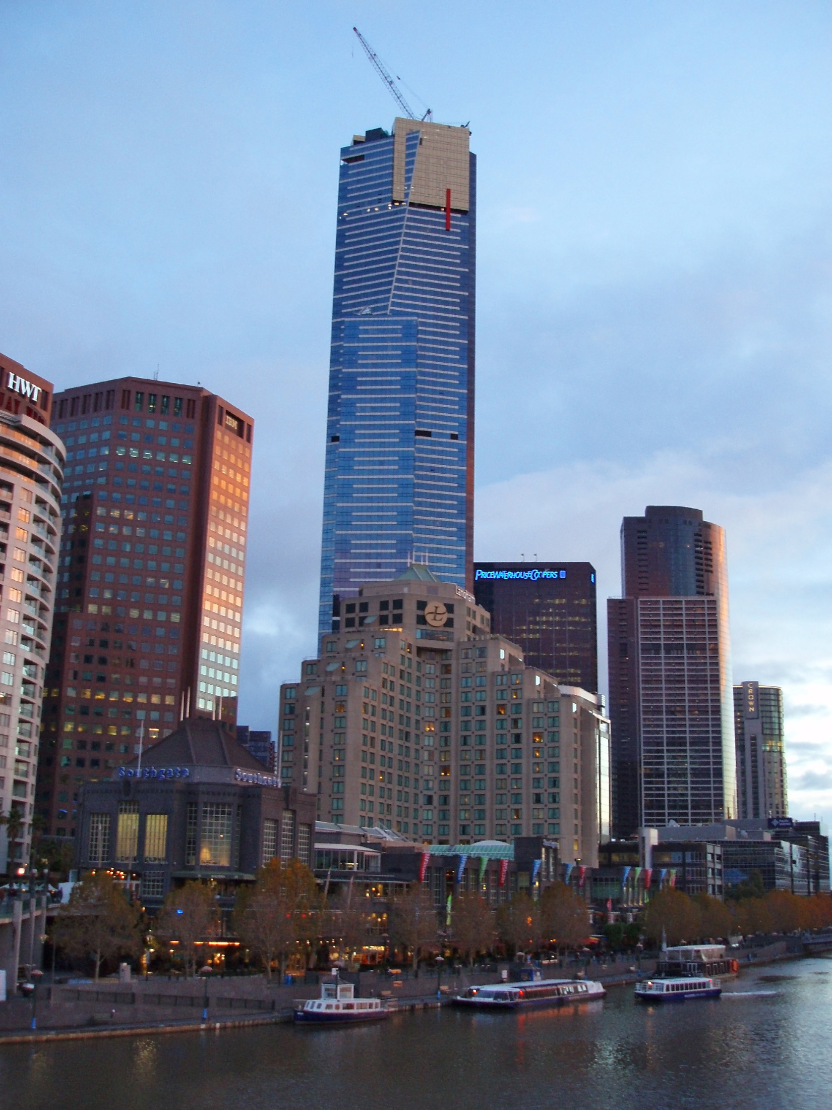 Tallest Architectural Building in Melbourne Australia, The Eureka Tower, Near the Yarra River.