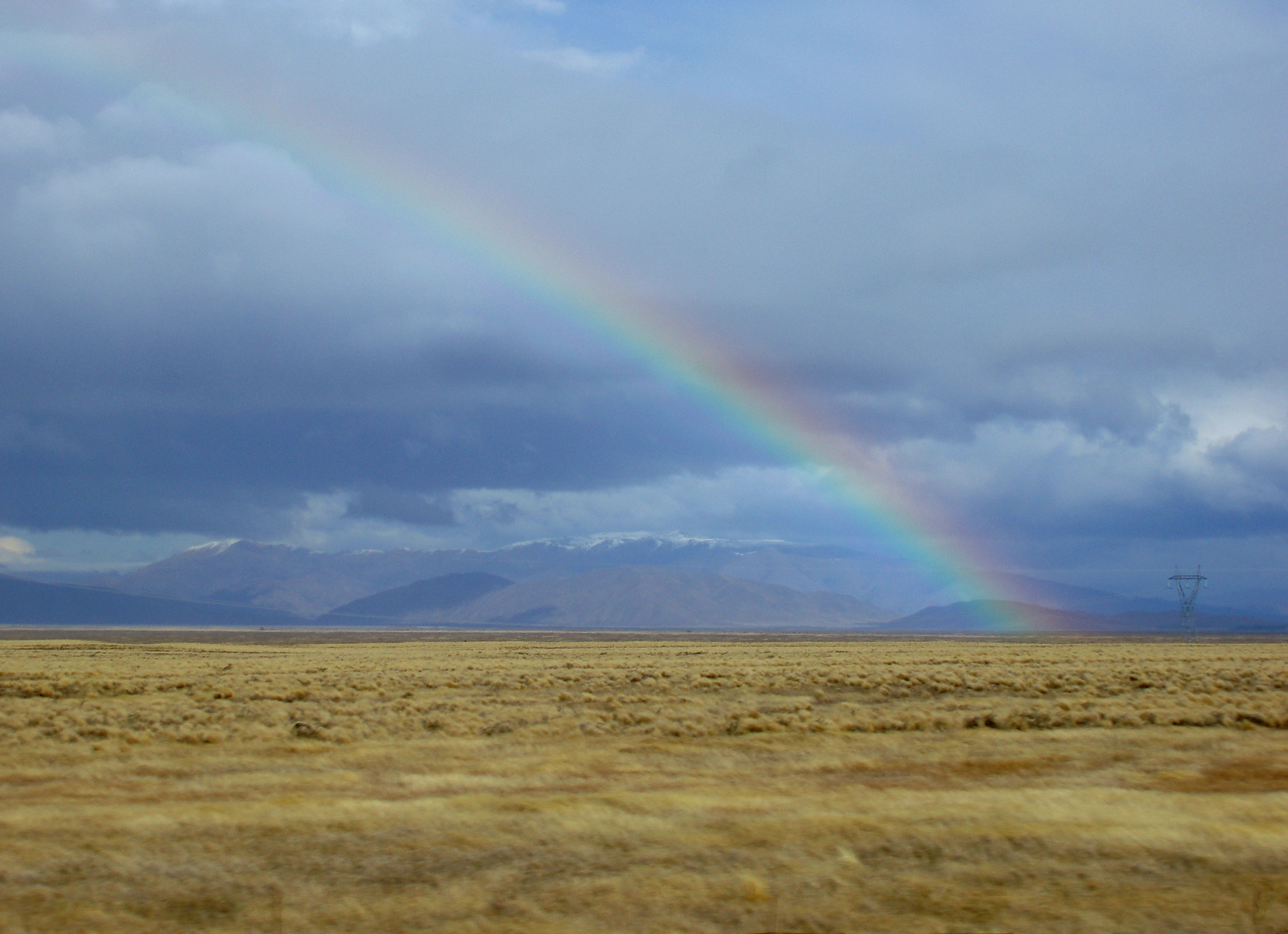 rainbow on the plains, somewhere on the way to Twizel