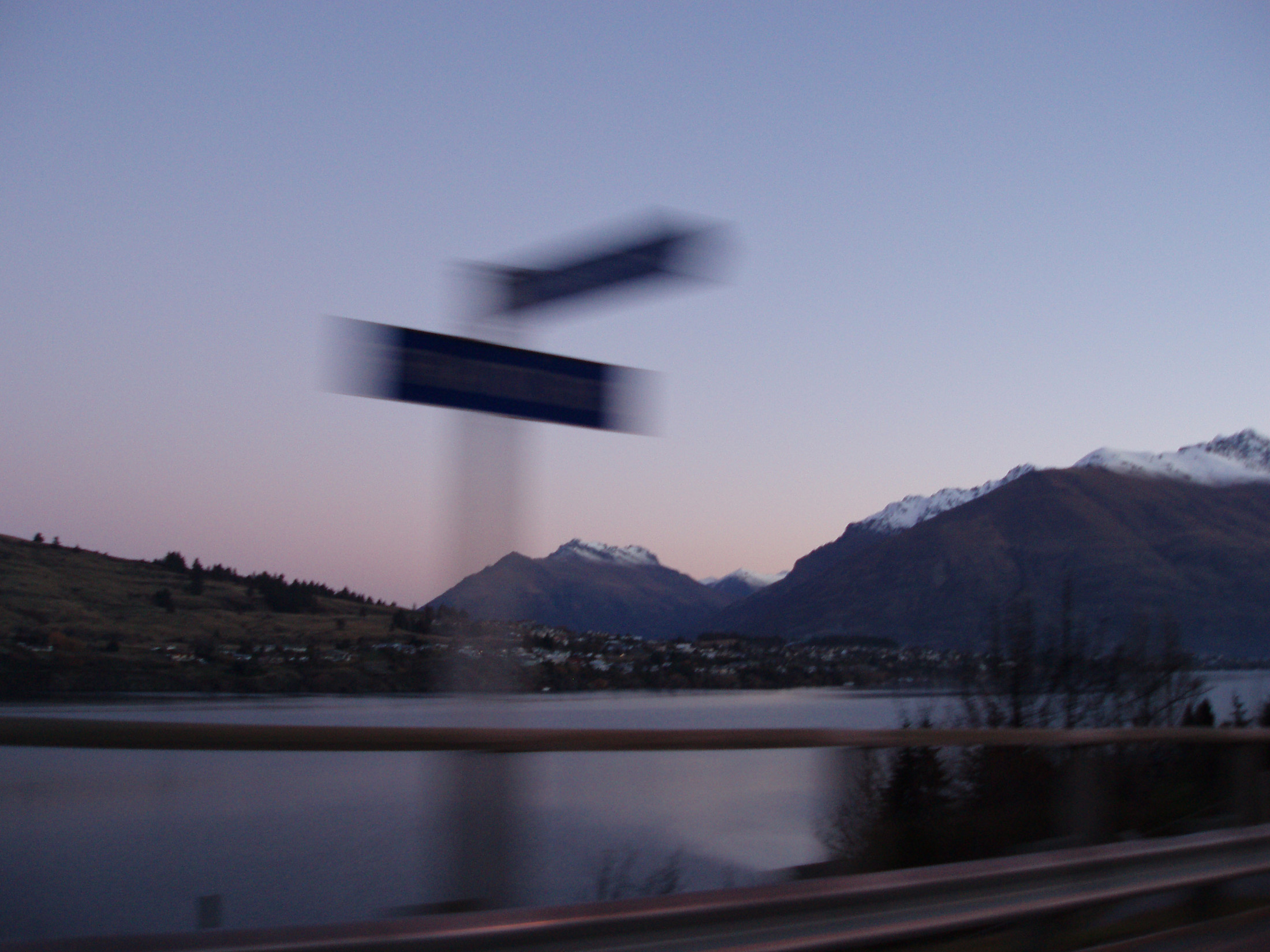 motion burred travel concept, queenstown at sunset