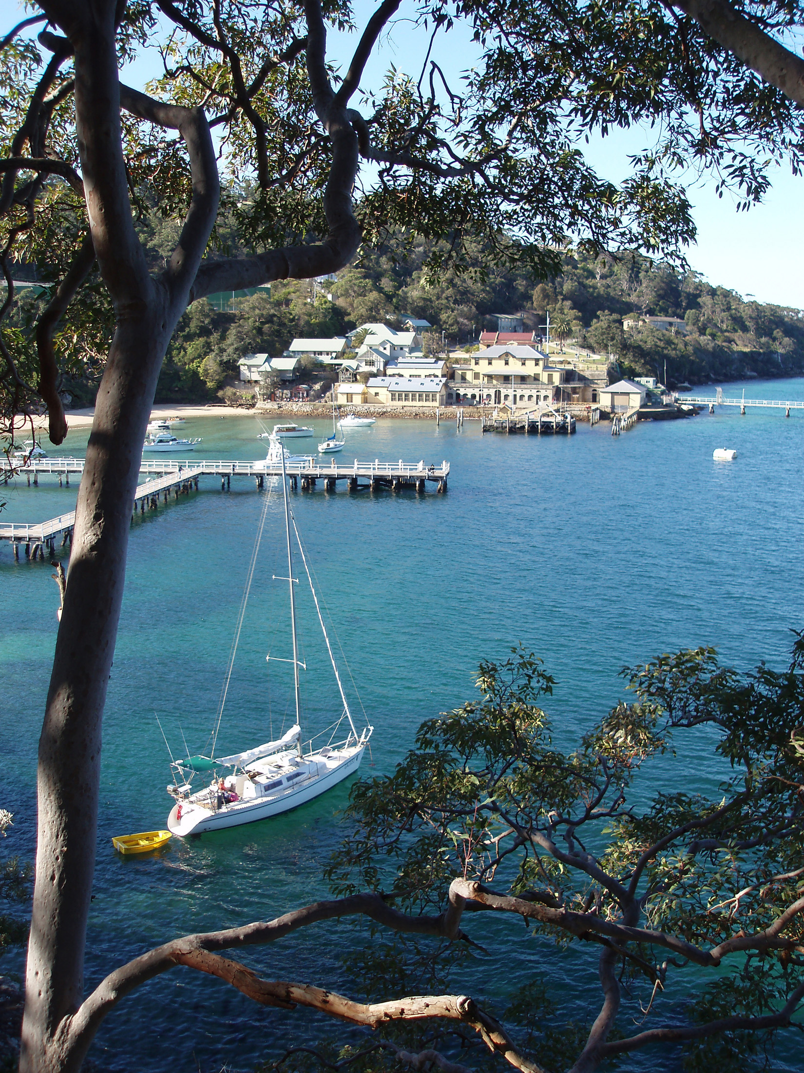 Overview of Sailboat Anchored at Chowder Head, Sydney, Australia