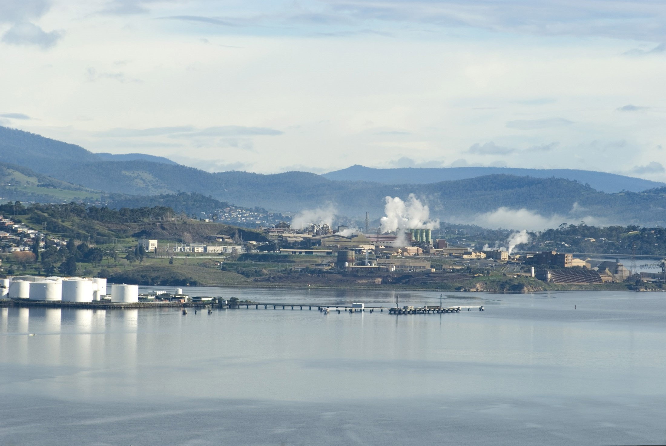 paper mills and heavy industry along the banks of the derwent river, tasmania