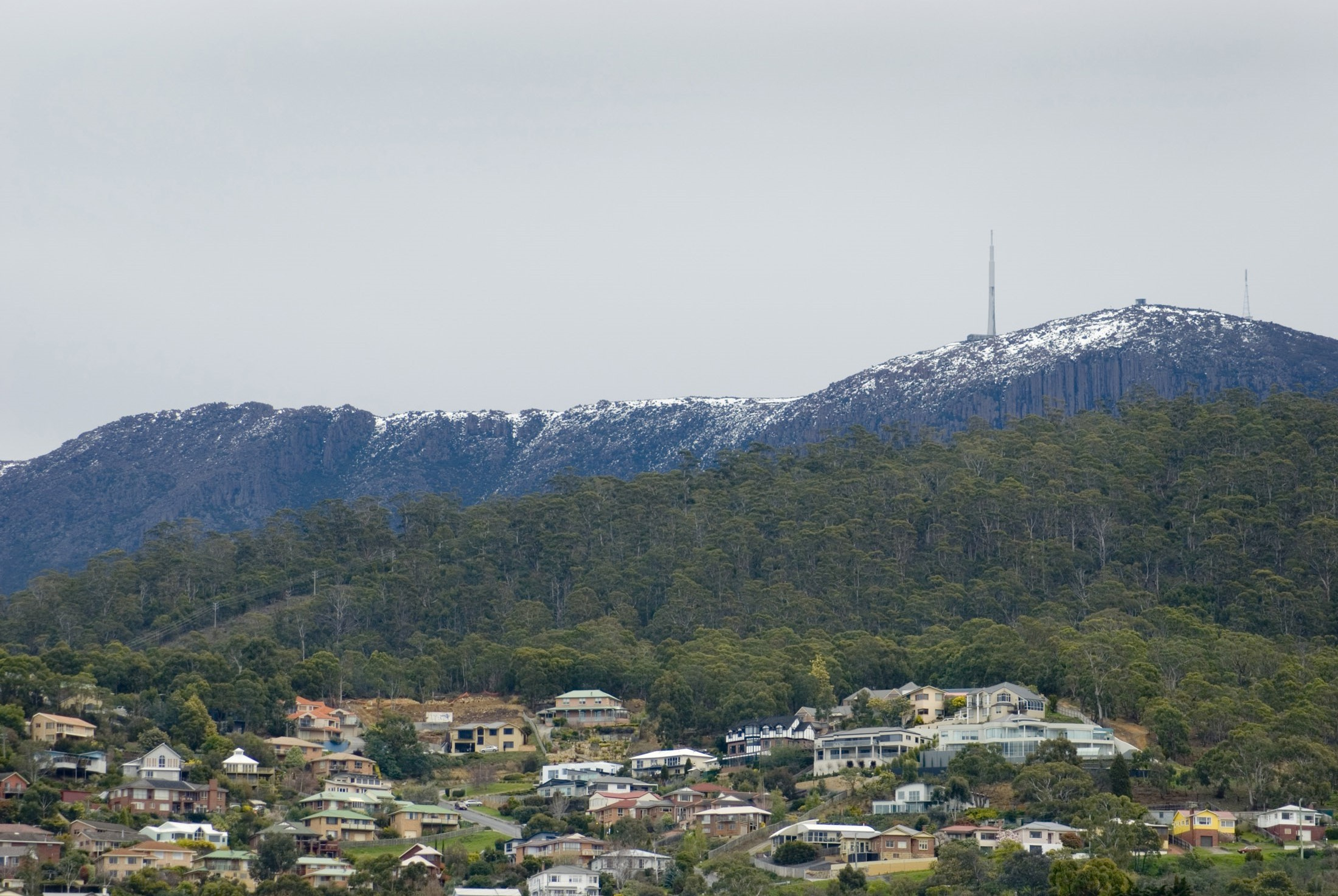 mount wellington and the organ pipes standing above the houses of hobart, tasmania