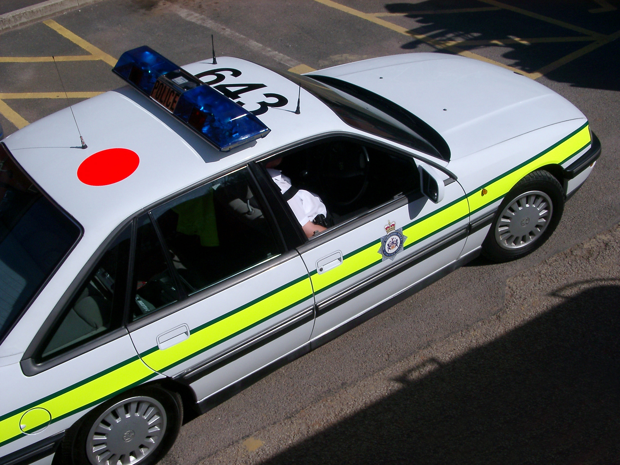 Overhead View of Police Car Showing Roof with Car Number