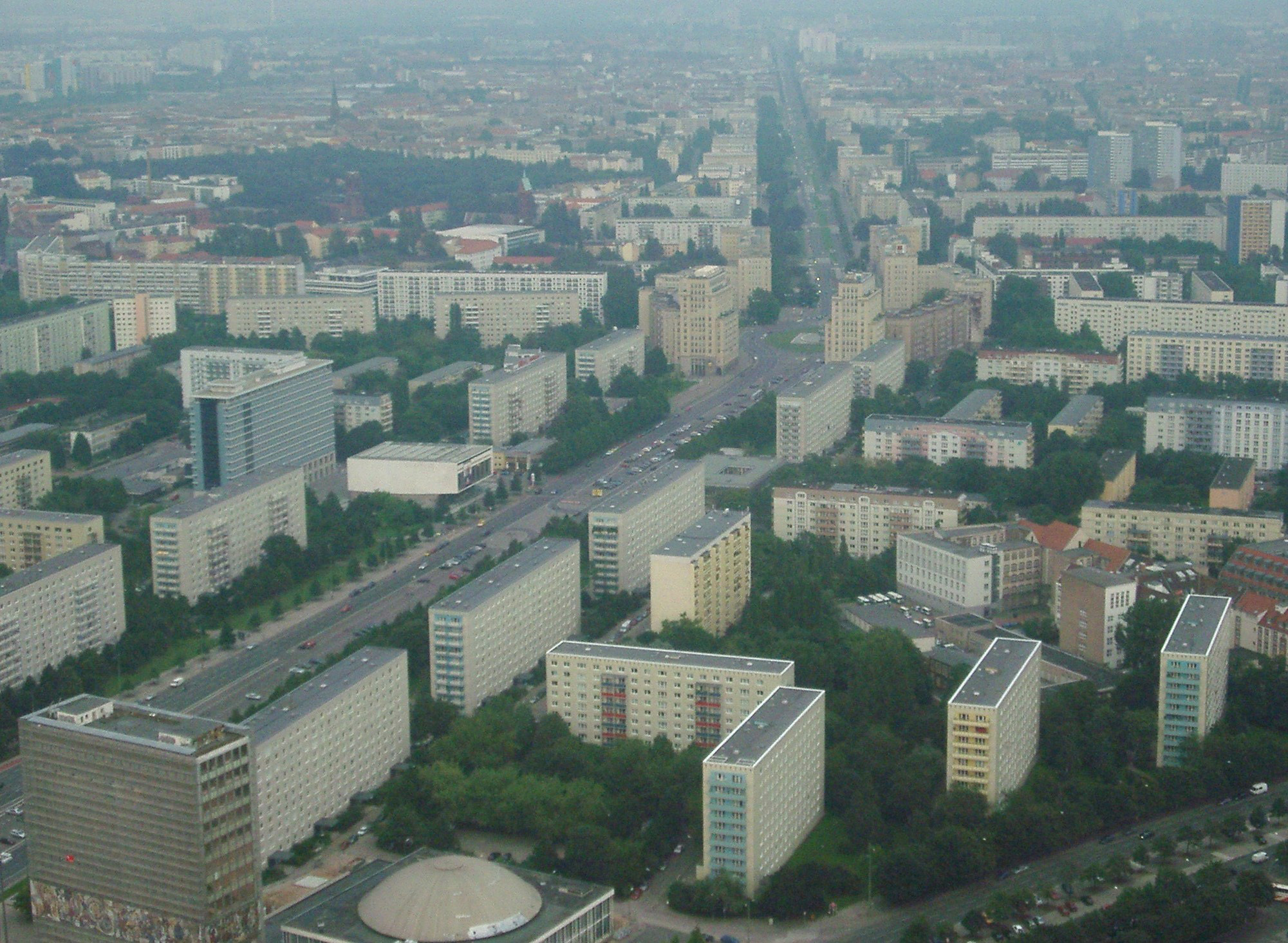 Rooftop view over East Berlin showing the old communist block with its ordered rows of concrete structures