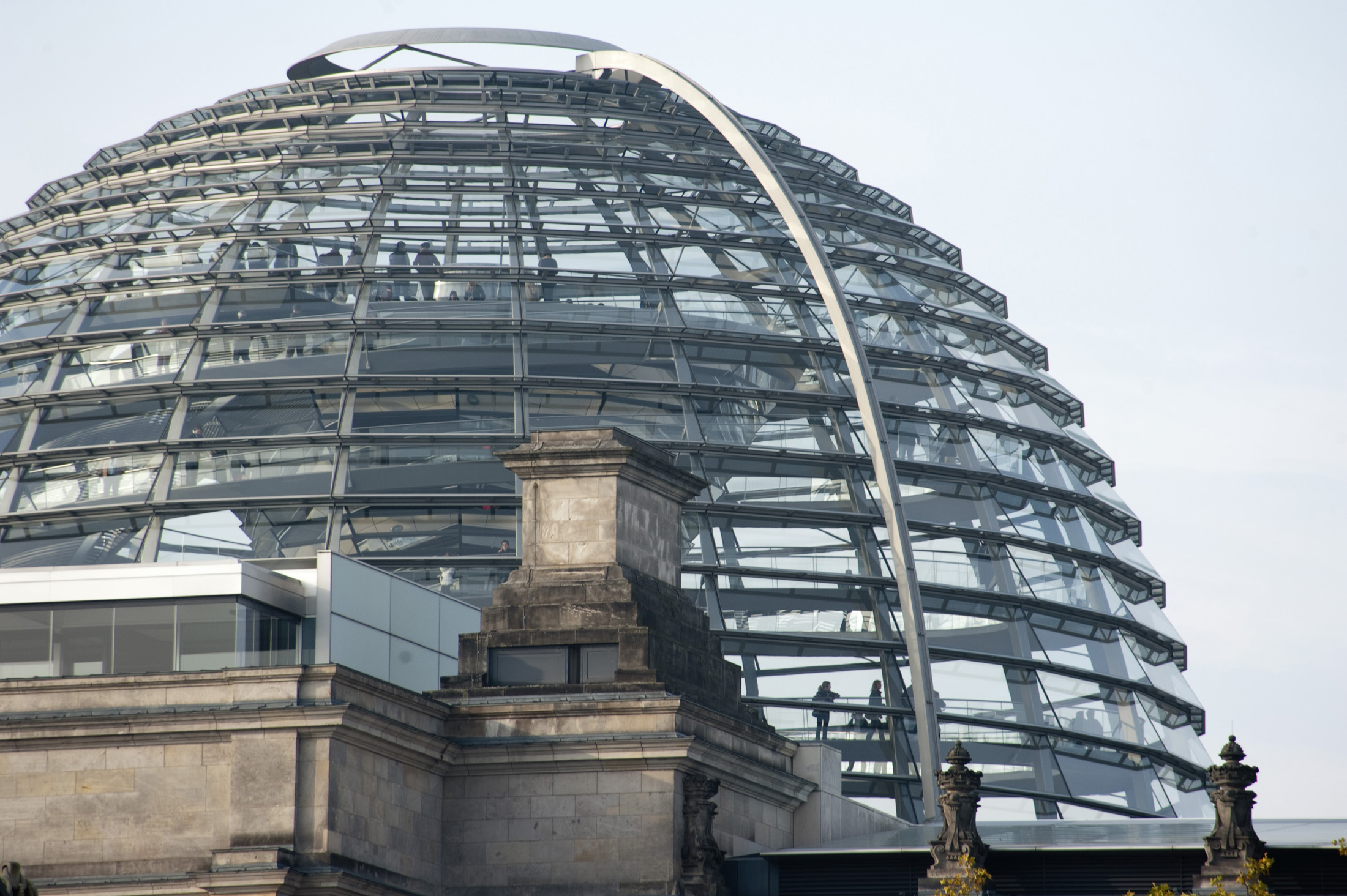 the dome on top of the reichstag, designed by architect Norman Foster