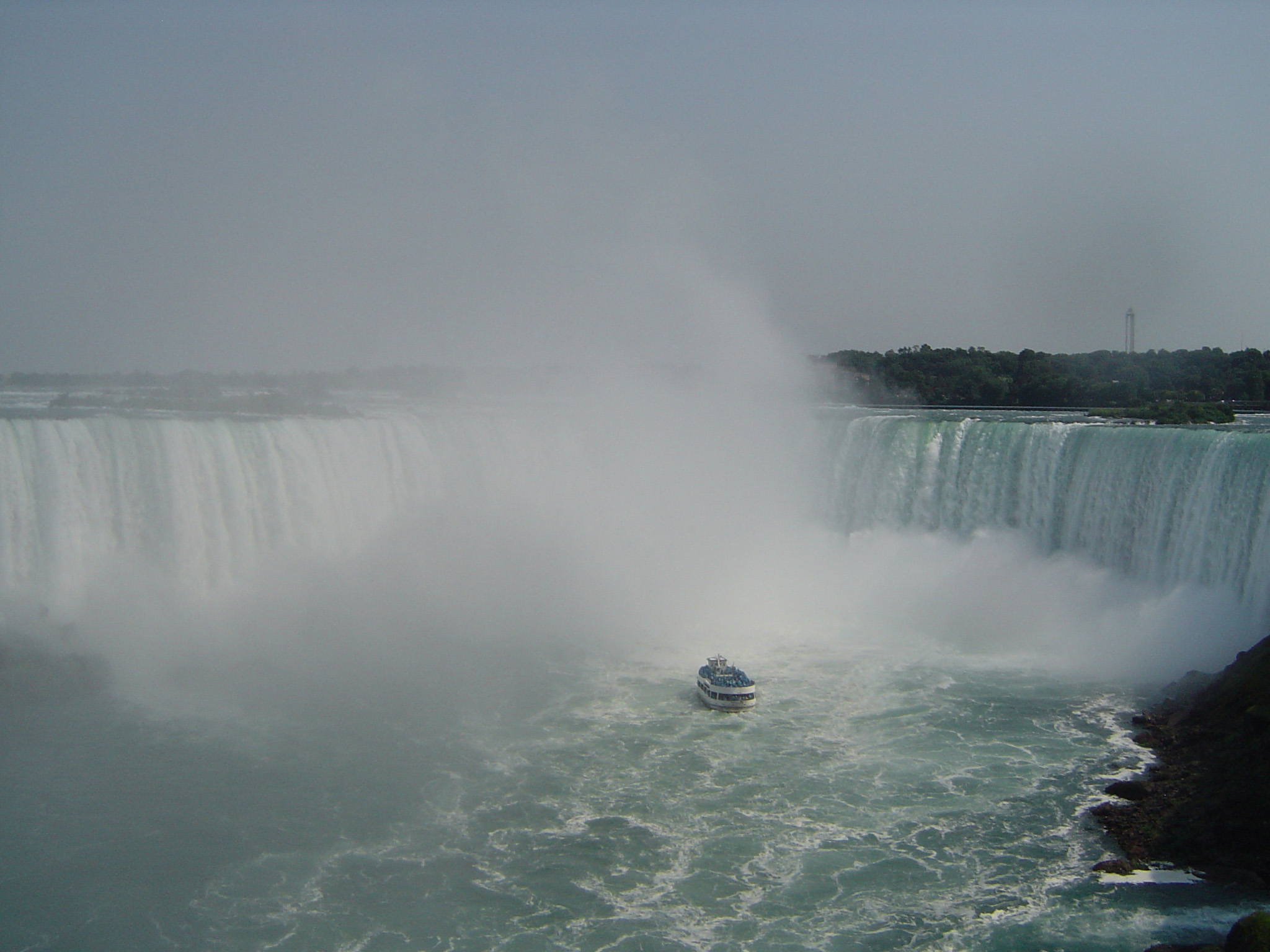 Maid of the Mist Tour Boat at Horseshoe Falls in Niagara Falls, Canada
