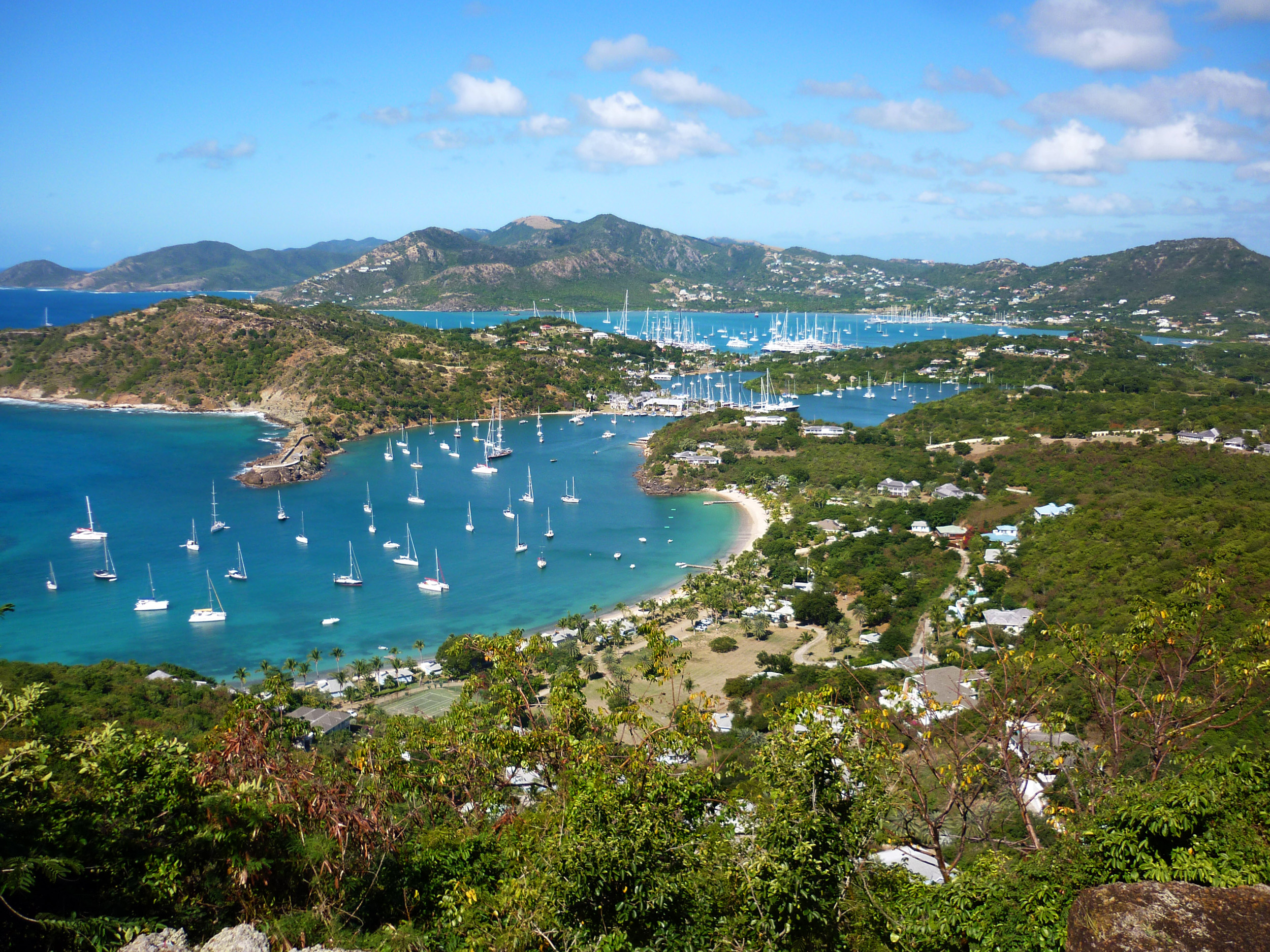 panoramic view of antigua taking in nelsons dockyard, english harbour and surrounding bays from shirley heights