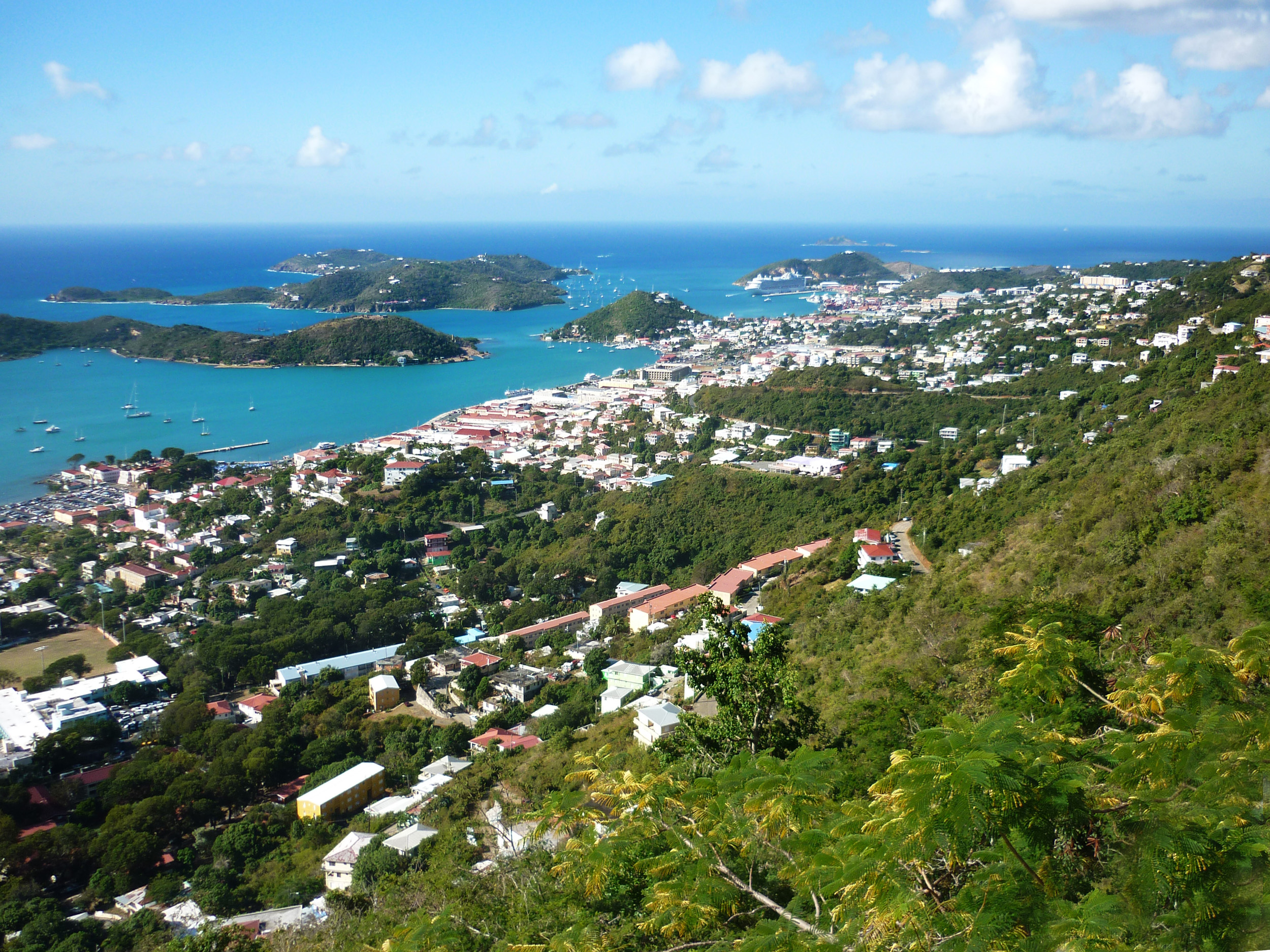 panoramic view of the coast of the island of st thomas, us virgin islands