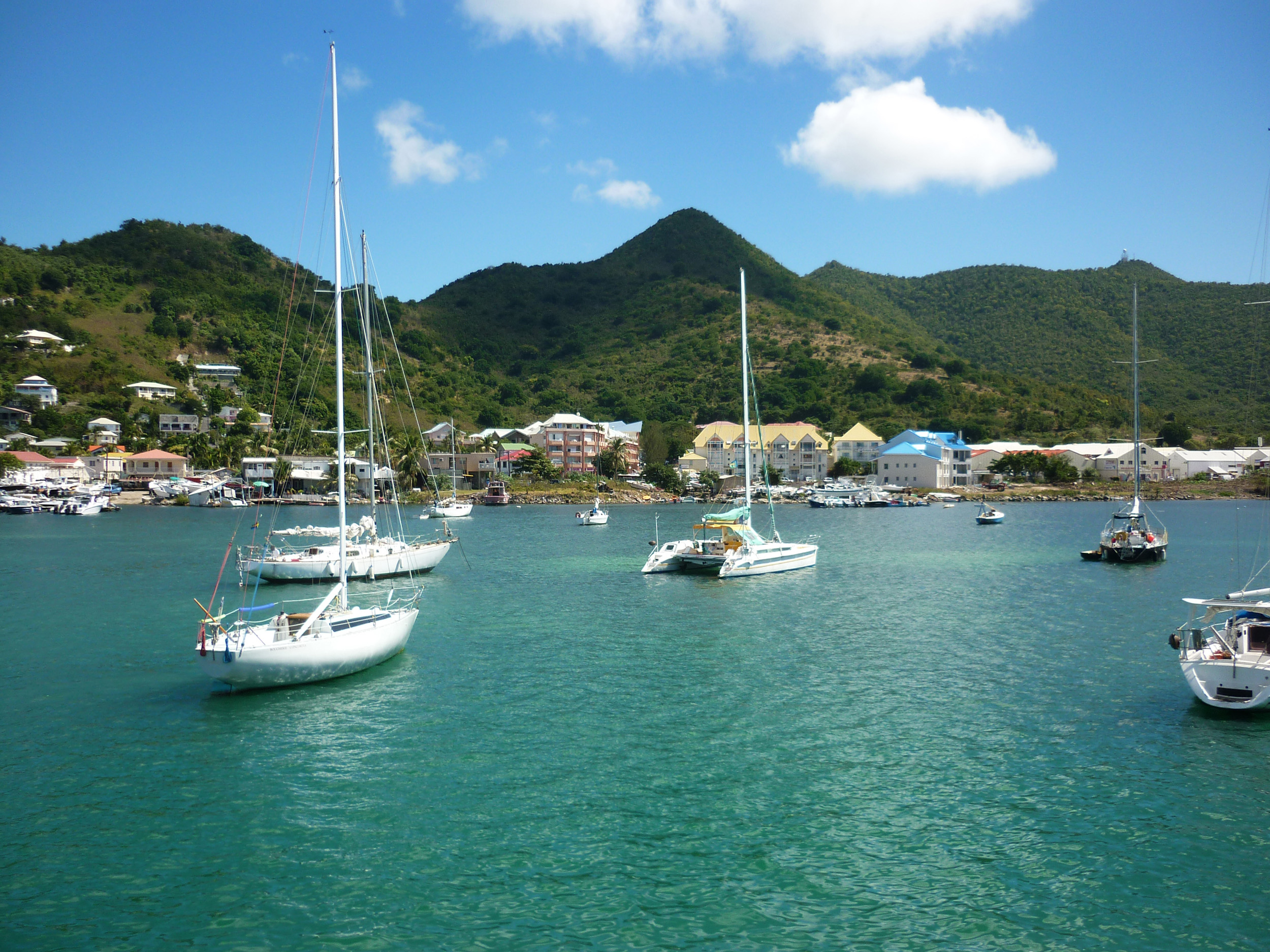yachts anchored of the island of st martin