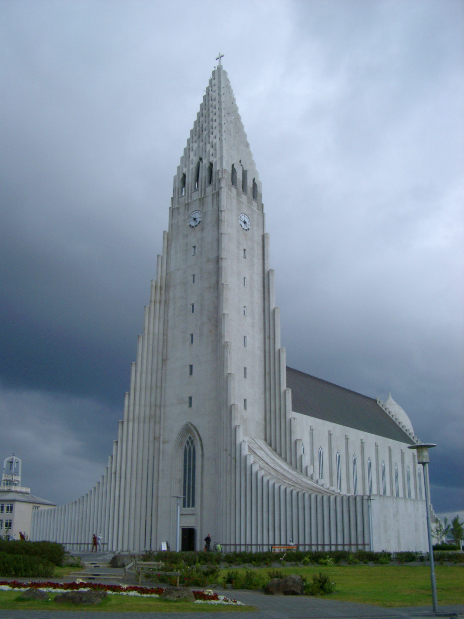 Lutheran Hallgrim Cathedral under a dramatic cloudy sky, Reykjavik, Iceland