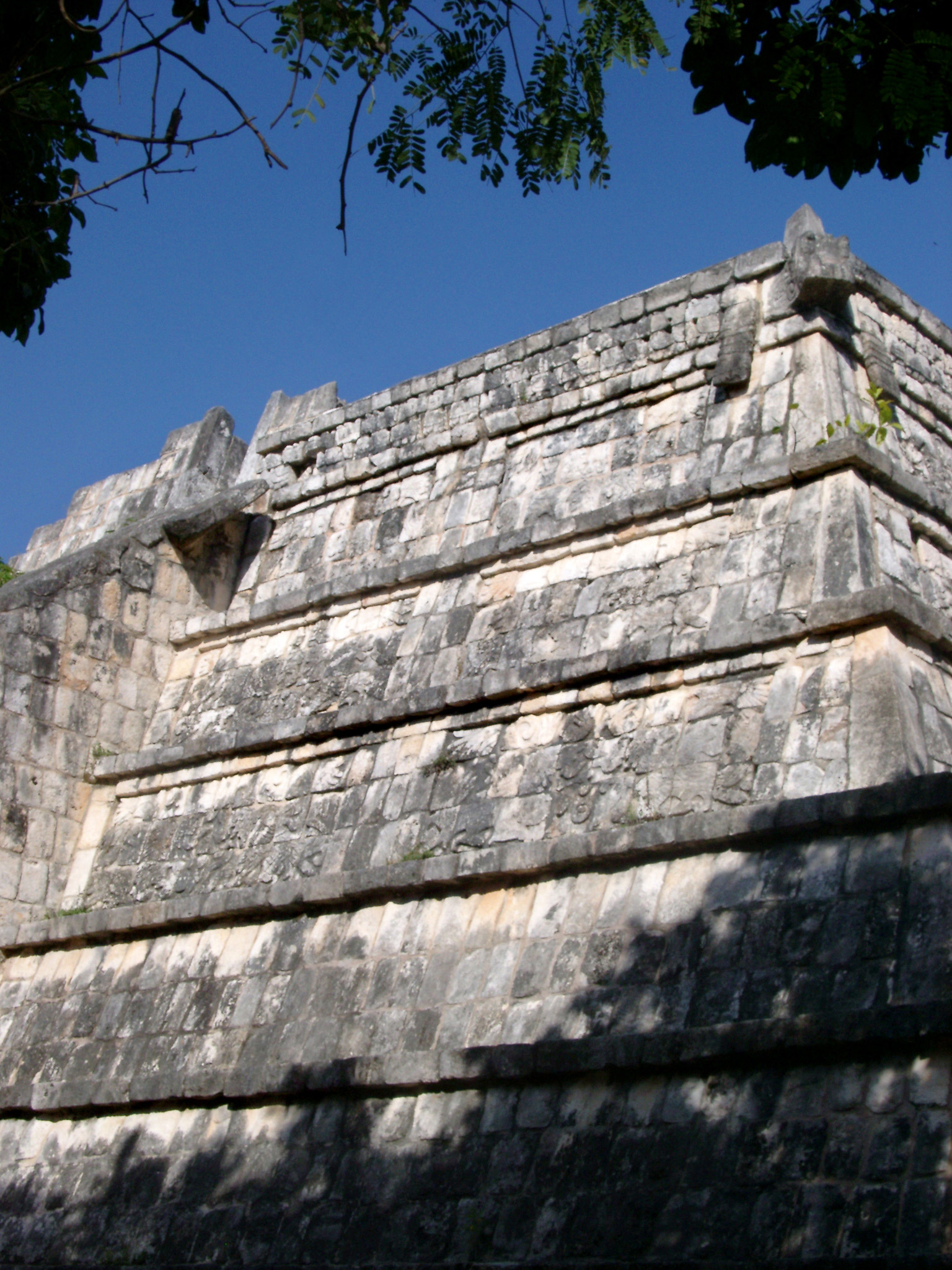 Close up view of the stone walls of the High priests tomb, Chitzen Itza Mayan ruins in the Yucatan Peninsula, Mexico