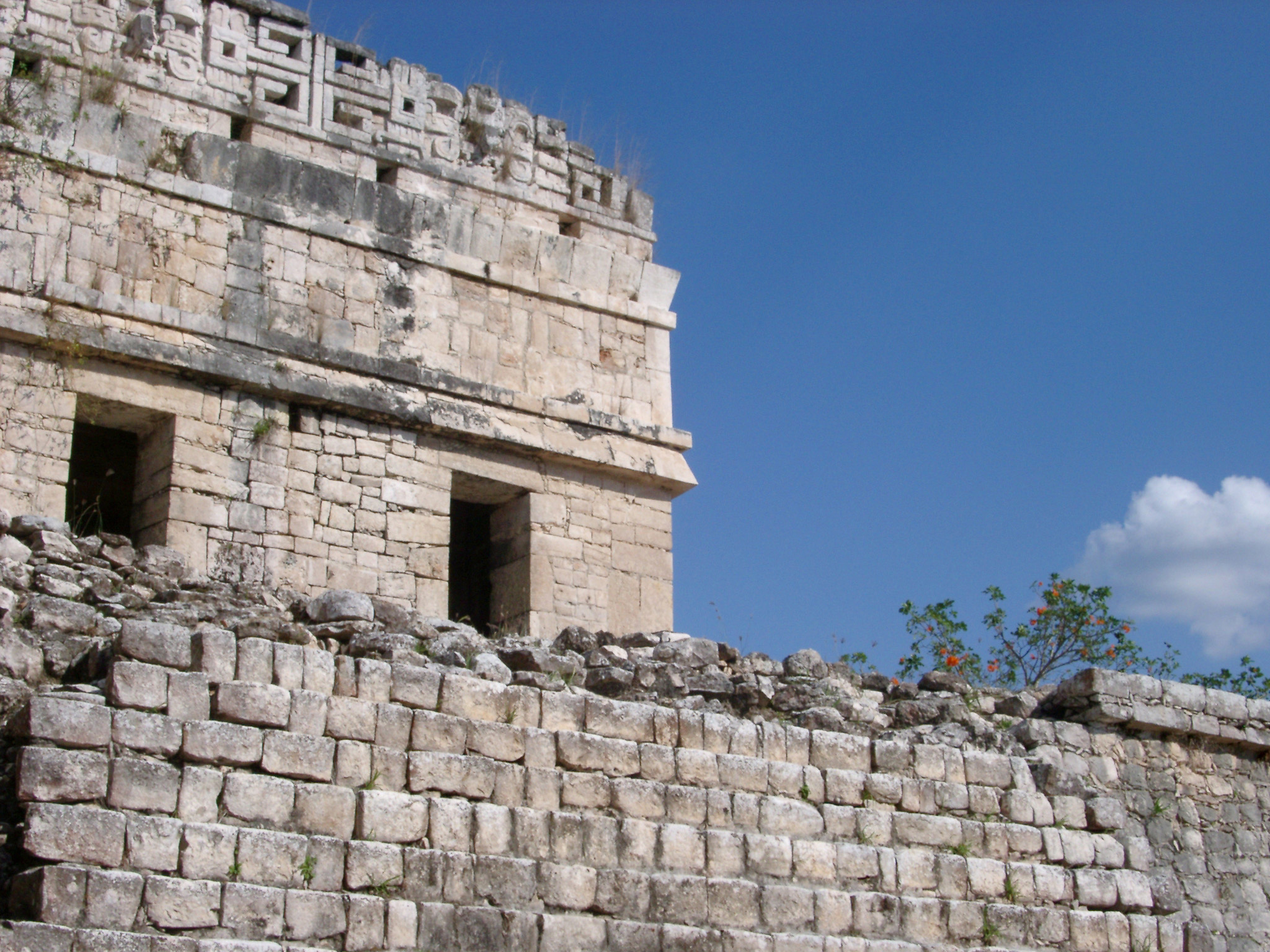 Detail of a stone building at Chitzen Itza in the Mayan ruins on the Yucatan Peninsula, Mexico