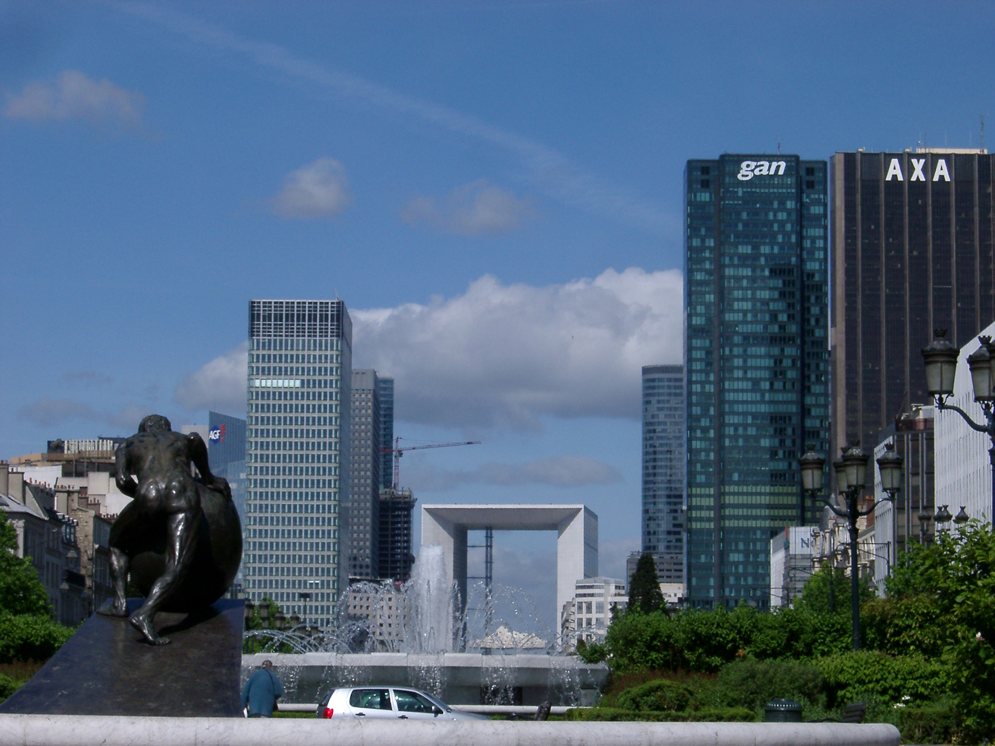 Various Architectural Building Structures at La Defense Isolated on Light Blue Sky Background.