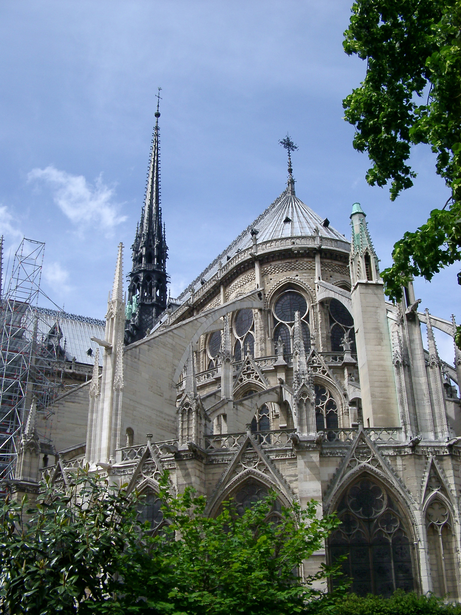 Exterior of Notre Dame Cathedral in Paris, France with Blue Sky