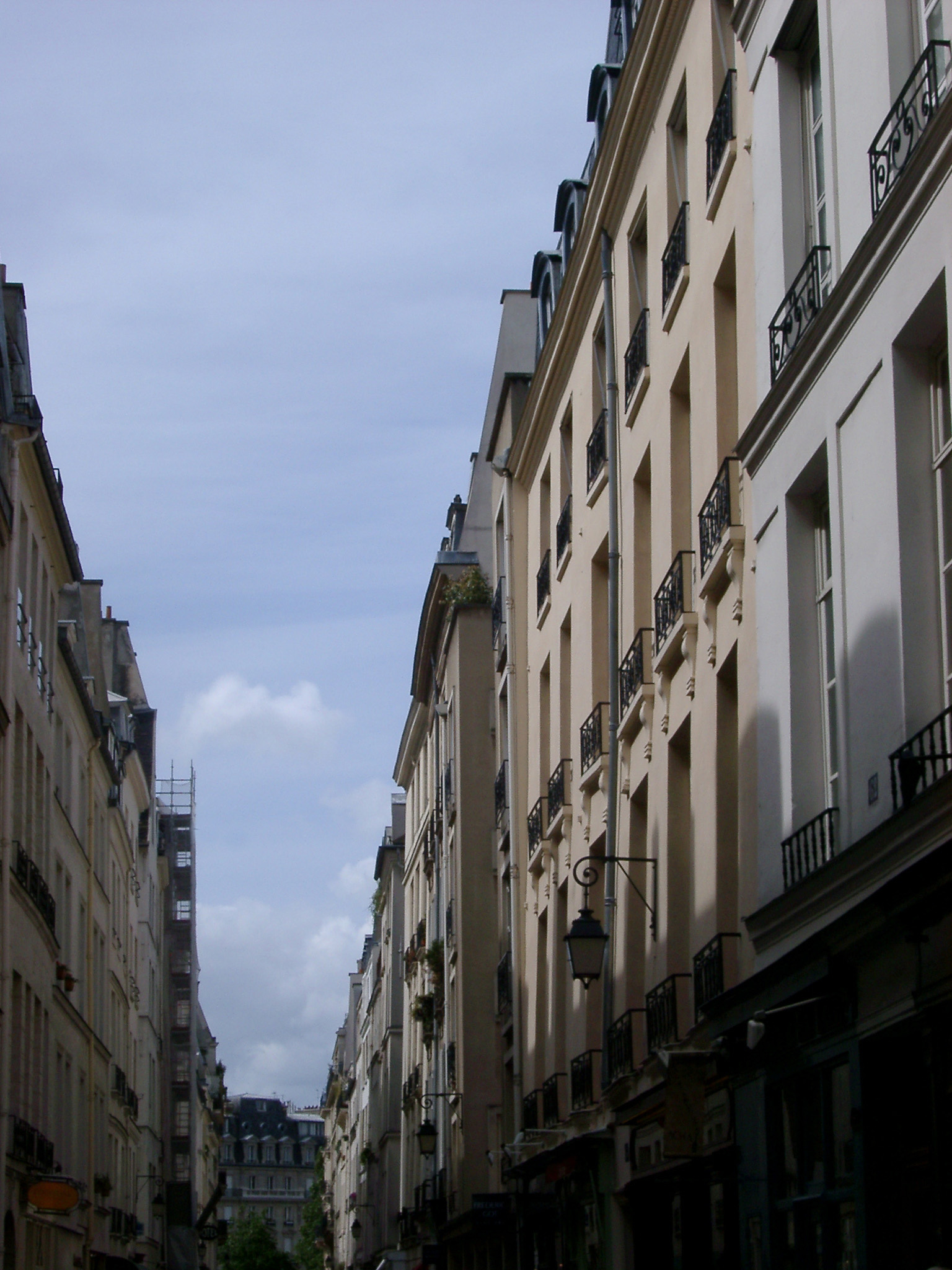 Paris, France, street view looking up at the historic facades of the buildings lining the road against a blue sky