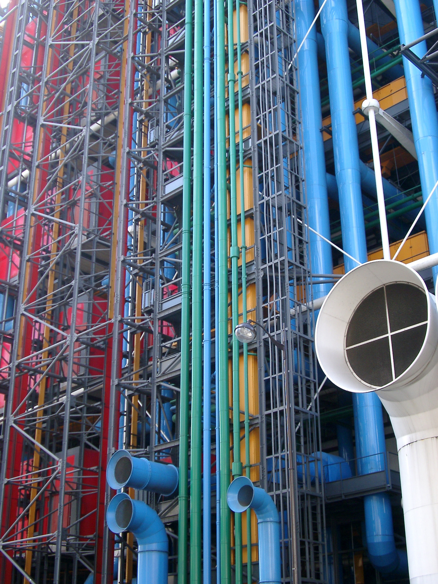 Close up Tall Colored Bars and Pipes at Centre Georges Pompidou Complex Building