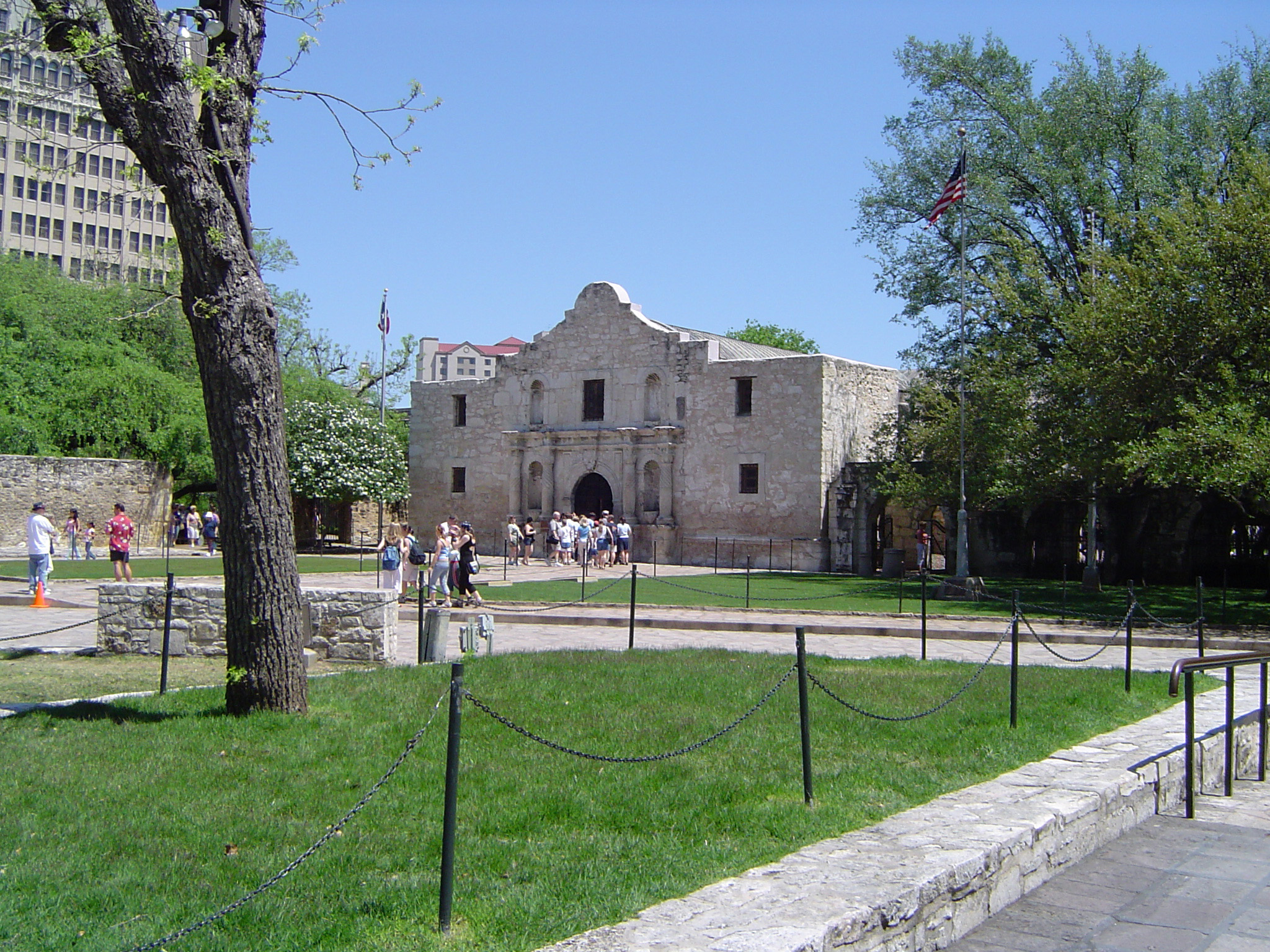 Grassy Landscape, Tall Trees and Tourists in Front Famous Historic Alamo Building. Isolated on Light Blue Sky Background.