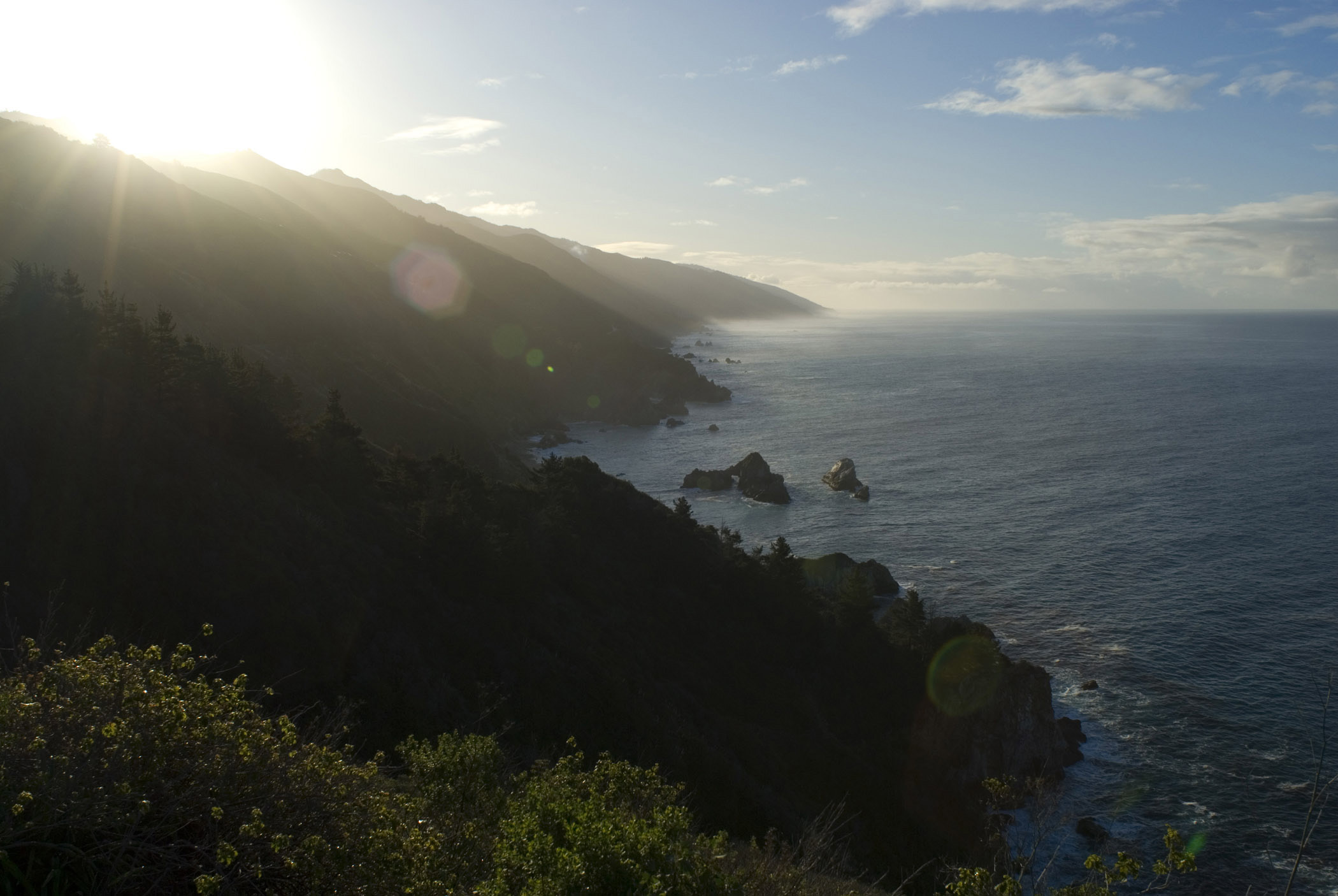 Relaxing Big Sur Coast Seascape on Sunrise. Captured in Aerial View