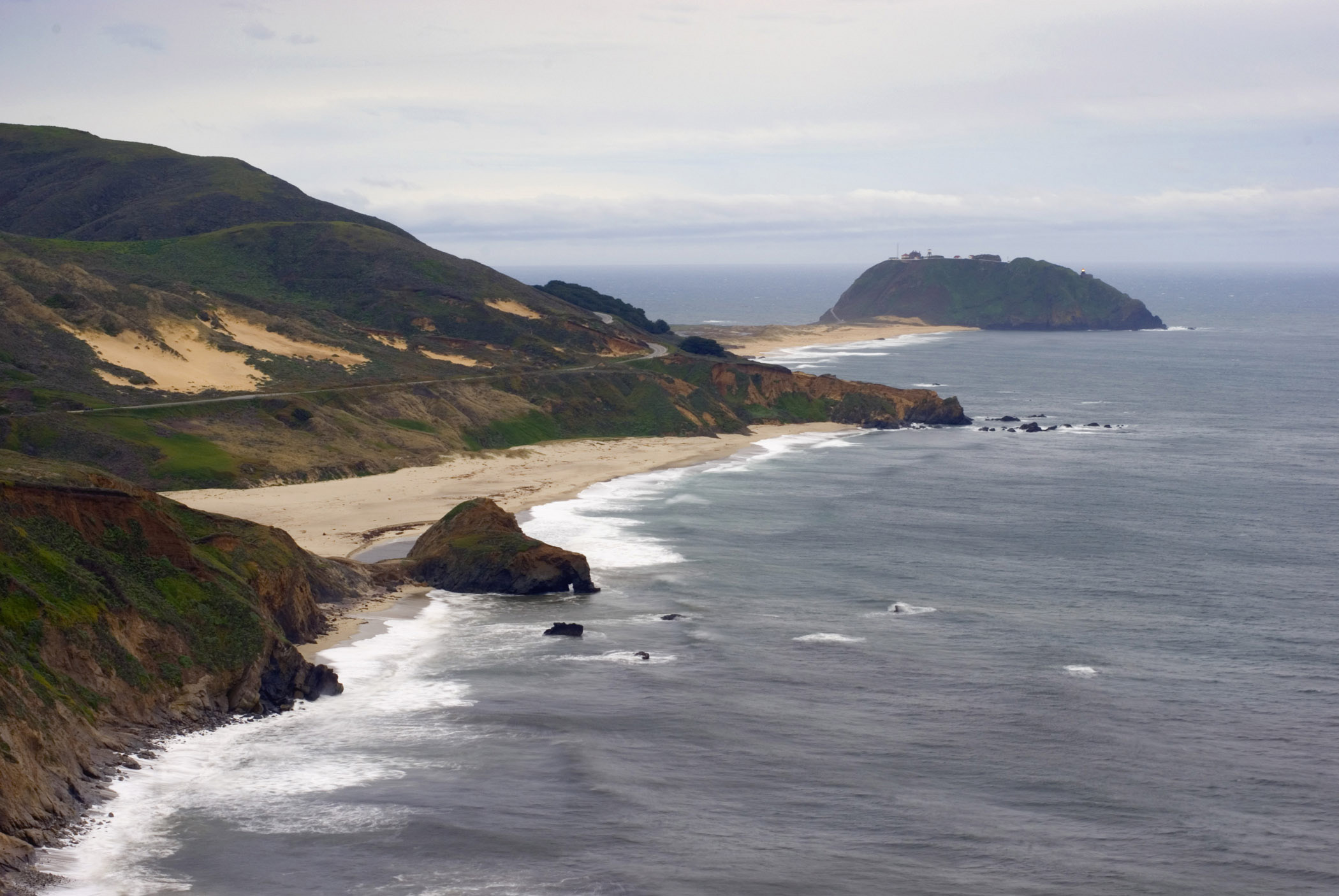 Point Sur seascape on the Route 1 Californian highway following the scenic coastine