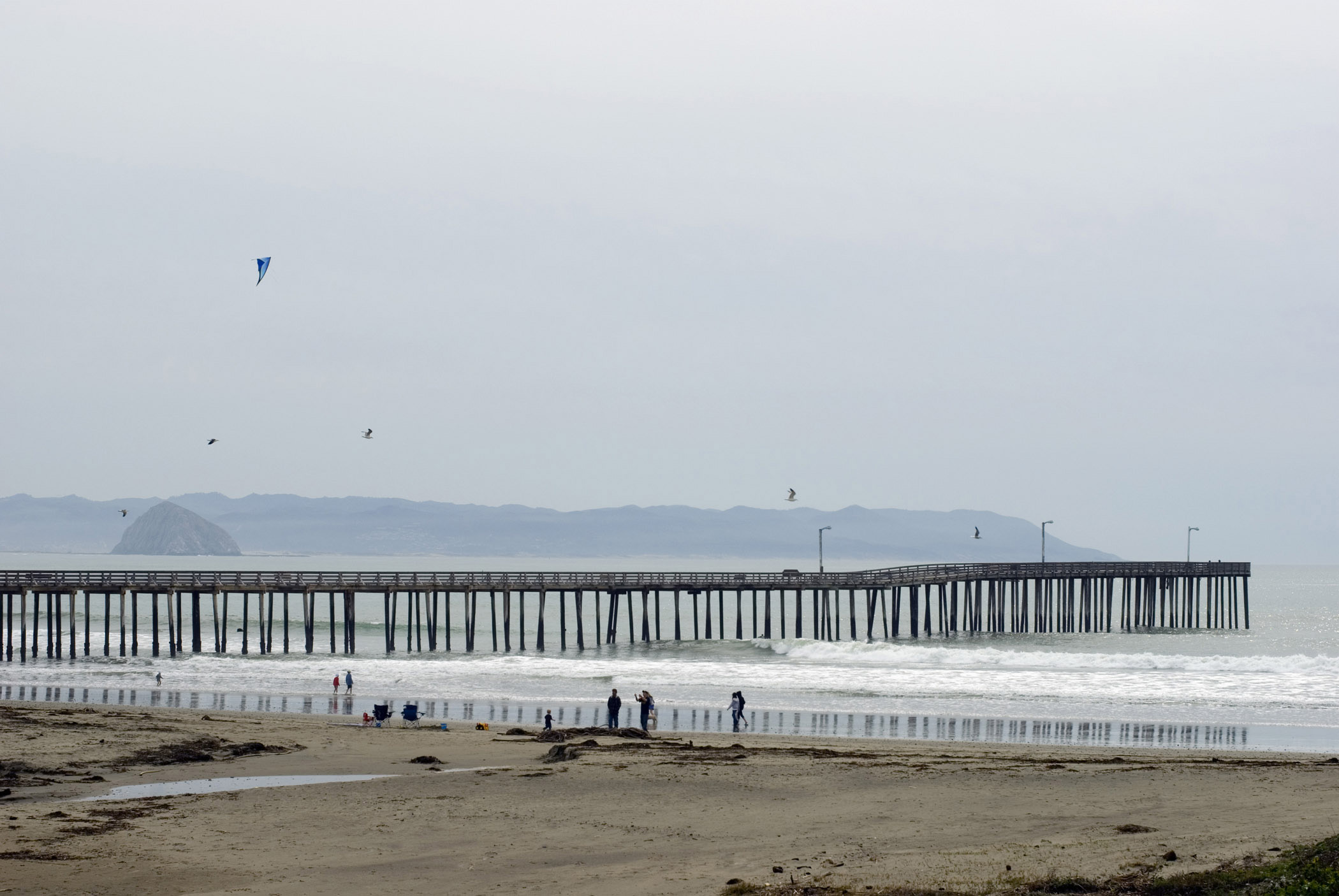 Tourists at Beautiful Cayucos Pier. Captured in Extensive View with Morro Rock Afar. Isolated on Foggy Sky Background.