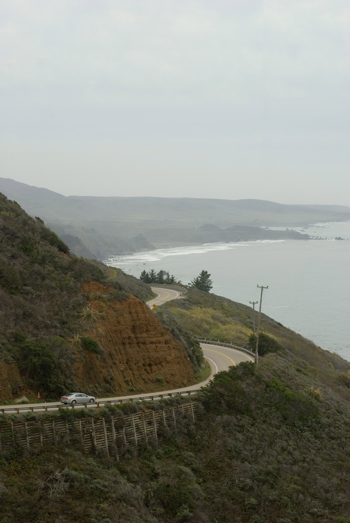 Coastal view of the Big Sur Highway, or Route No 1, on the central Californian coast showing the coastline and bends in the road