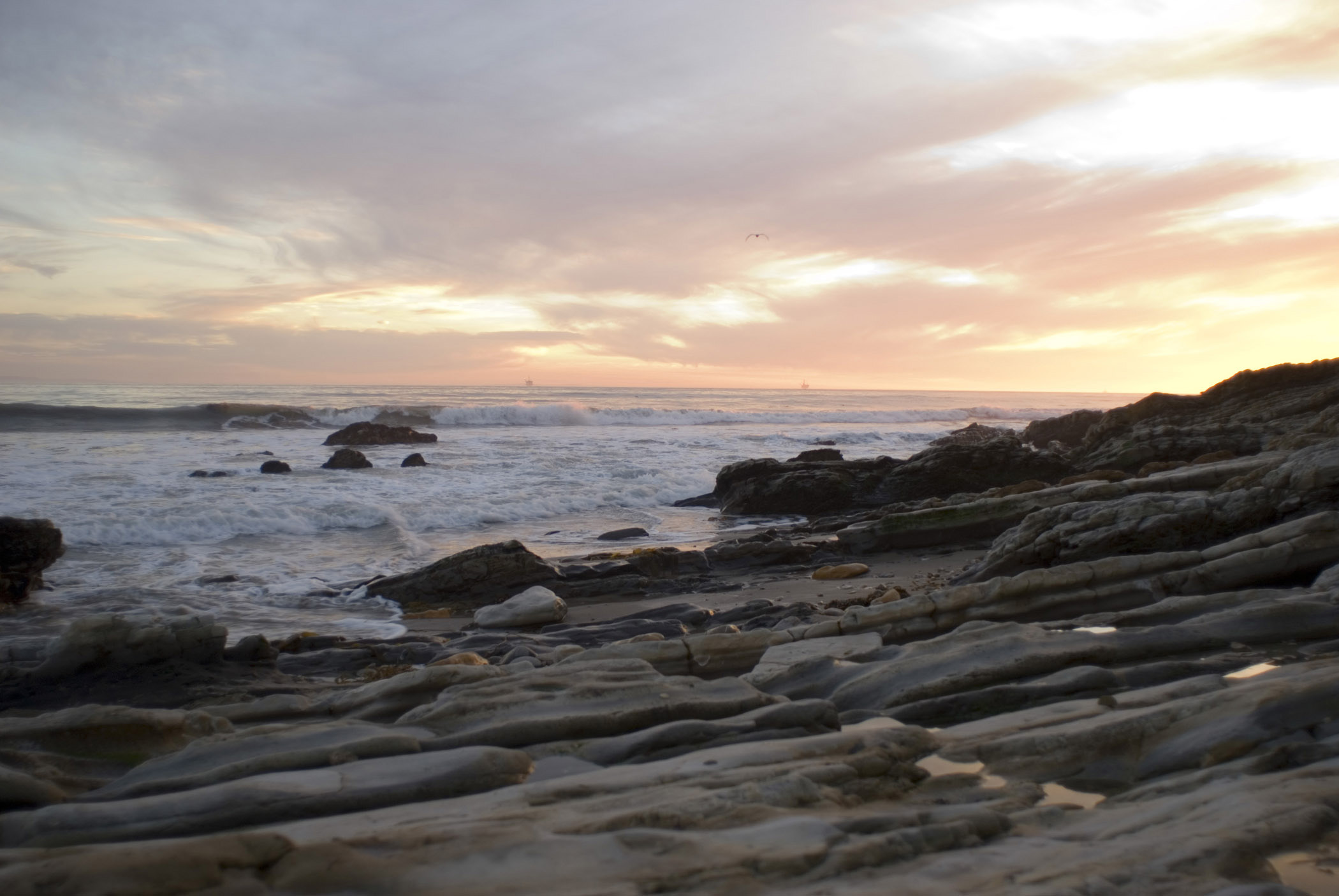 Sunset at Beautiful Refugio Beach with Rocks at the Seashore, Located in California.