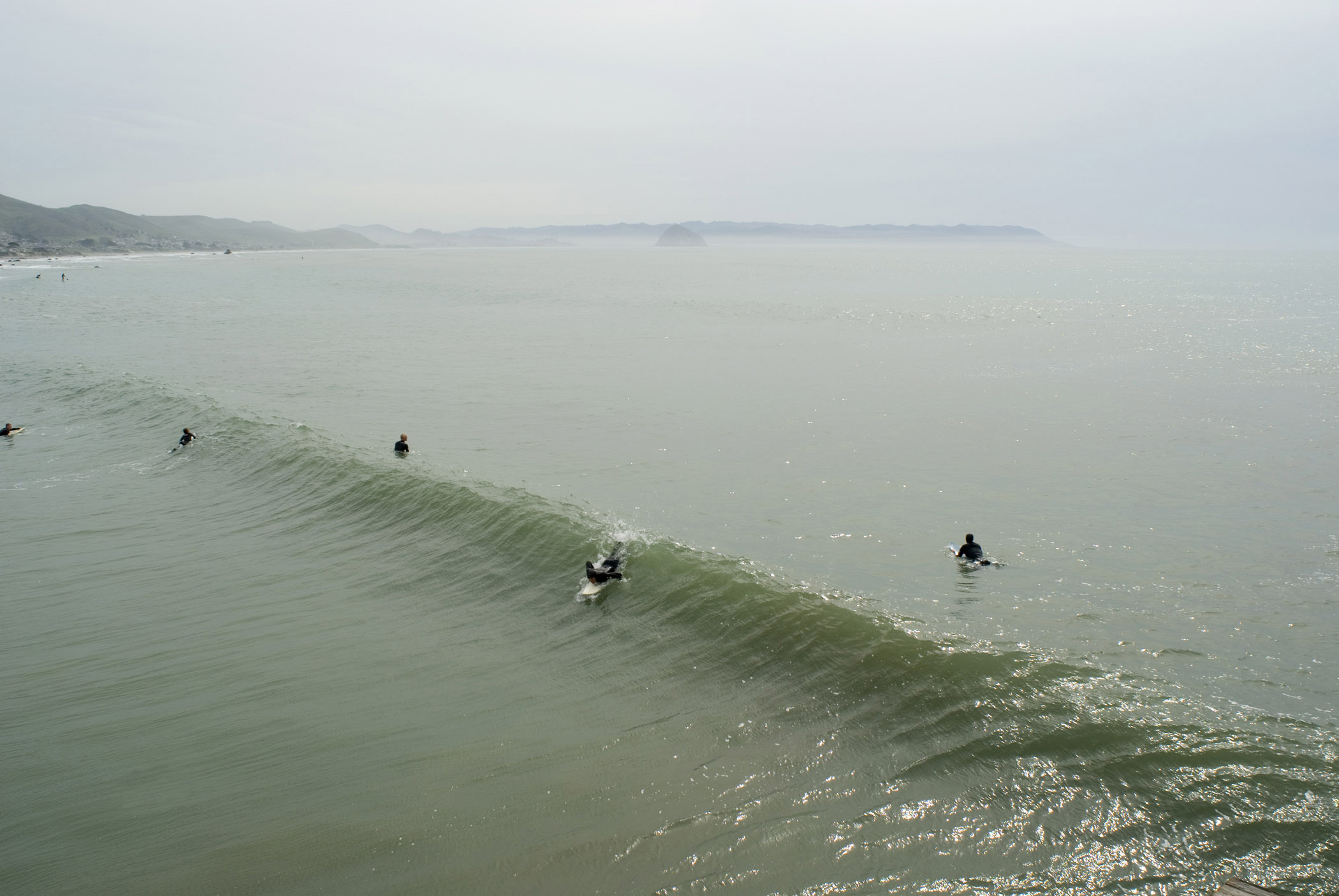 Professional Surfers at Beautiful California Beach in Aerial Extensive View. Isolated on Foggy Sky Background.