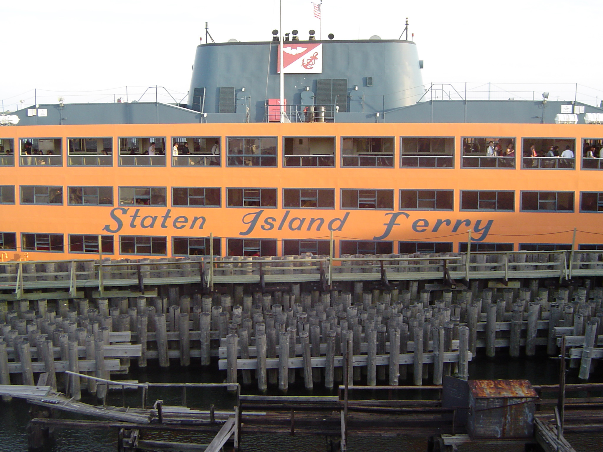View of the decks of the Staten Usland ferry which carries passengers between Staten island and Manhattan, New York