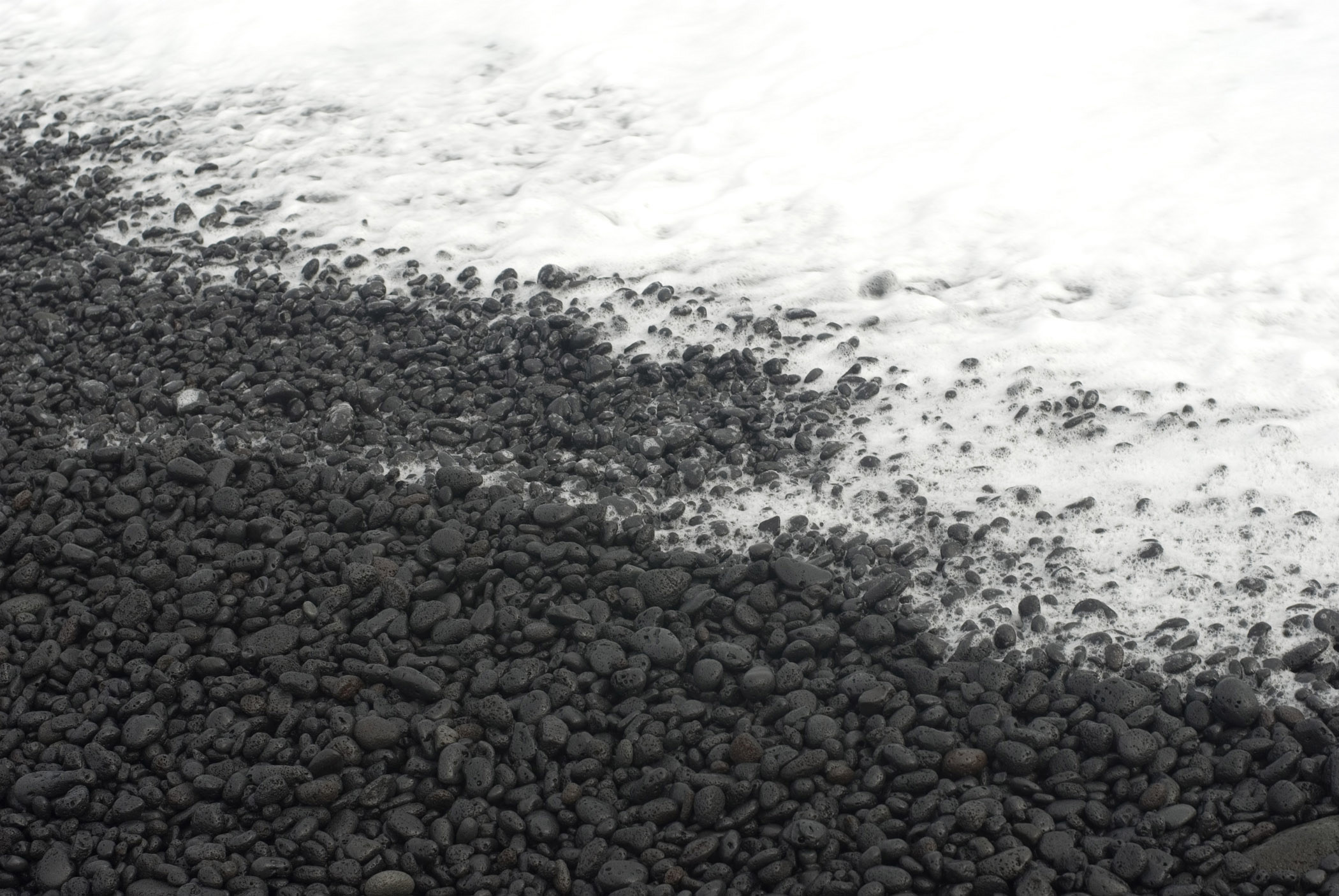 Close up Gray Scale Plenty Small Stones at Kalapana Beach Shore