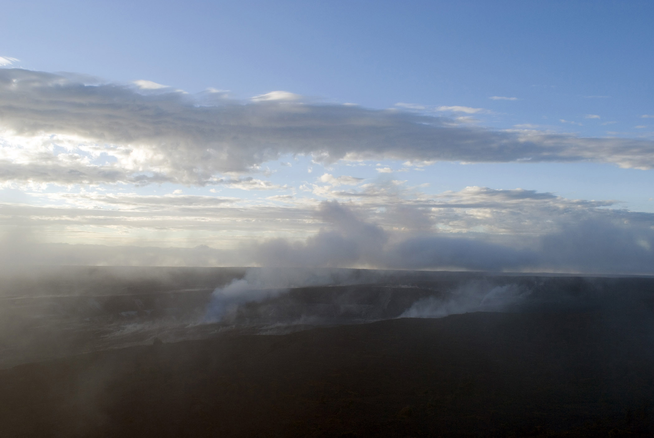 Overview of Steam Vents in Volcanoes National Park, Hawaii in Early Morning or Late Afternoon Sunlight