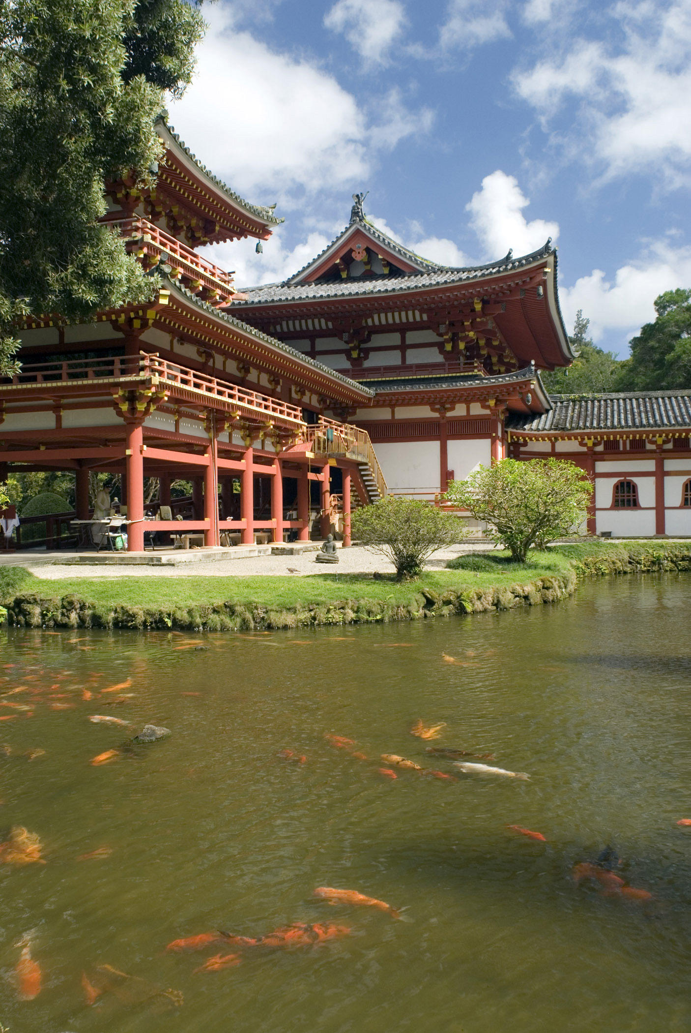 Beautiful Byodo In Buddhist Temple with Koi Fishes in Front Garden. Located at Hawaii