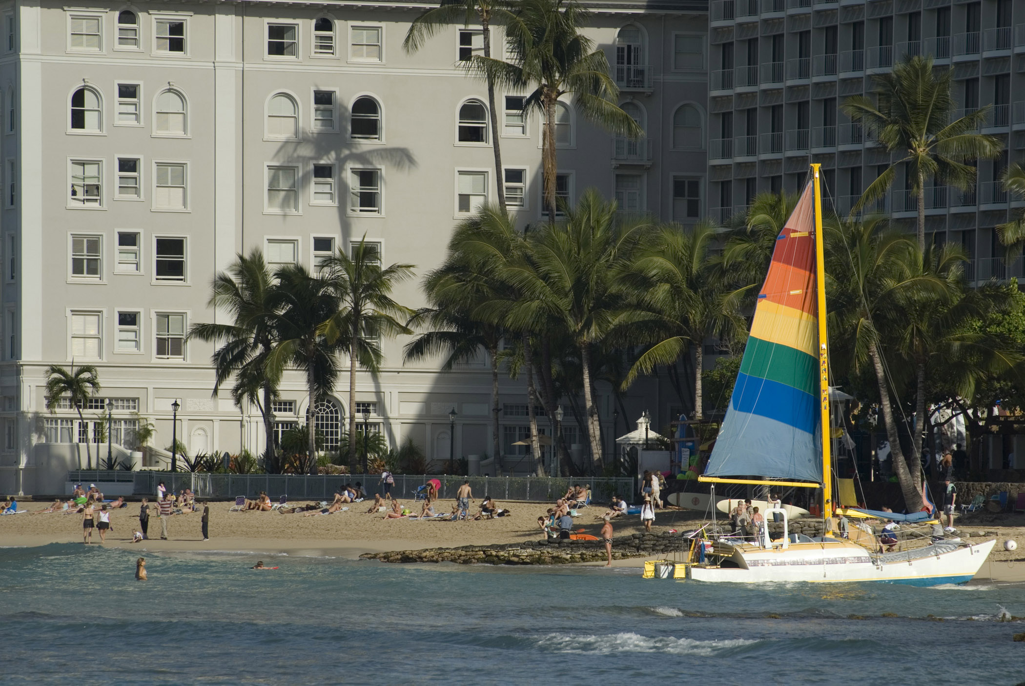 Colorful Sailboat on Beach Shore in Waikiki, Hawaii