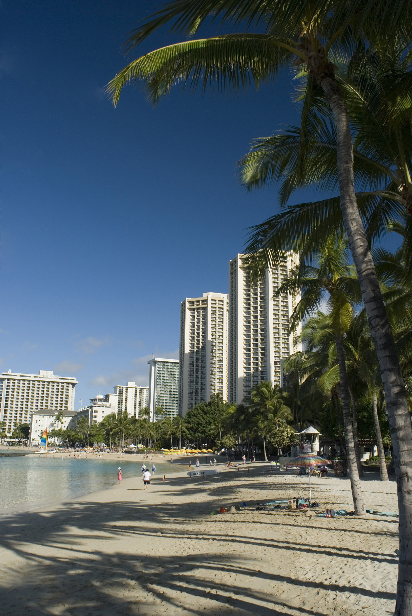 Scenic view of Waikiki Beach, Oahu Island, Hawaii, with its golden sand, palm trees and apartment buildings