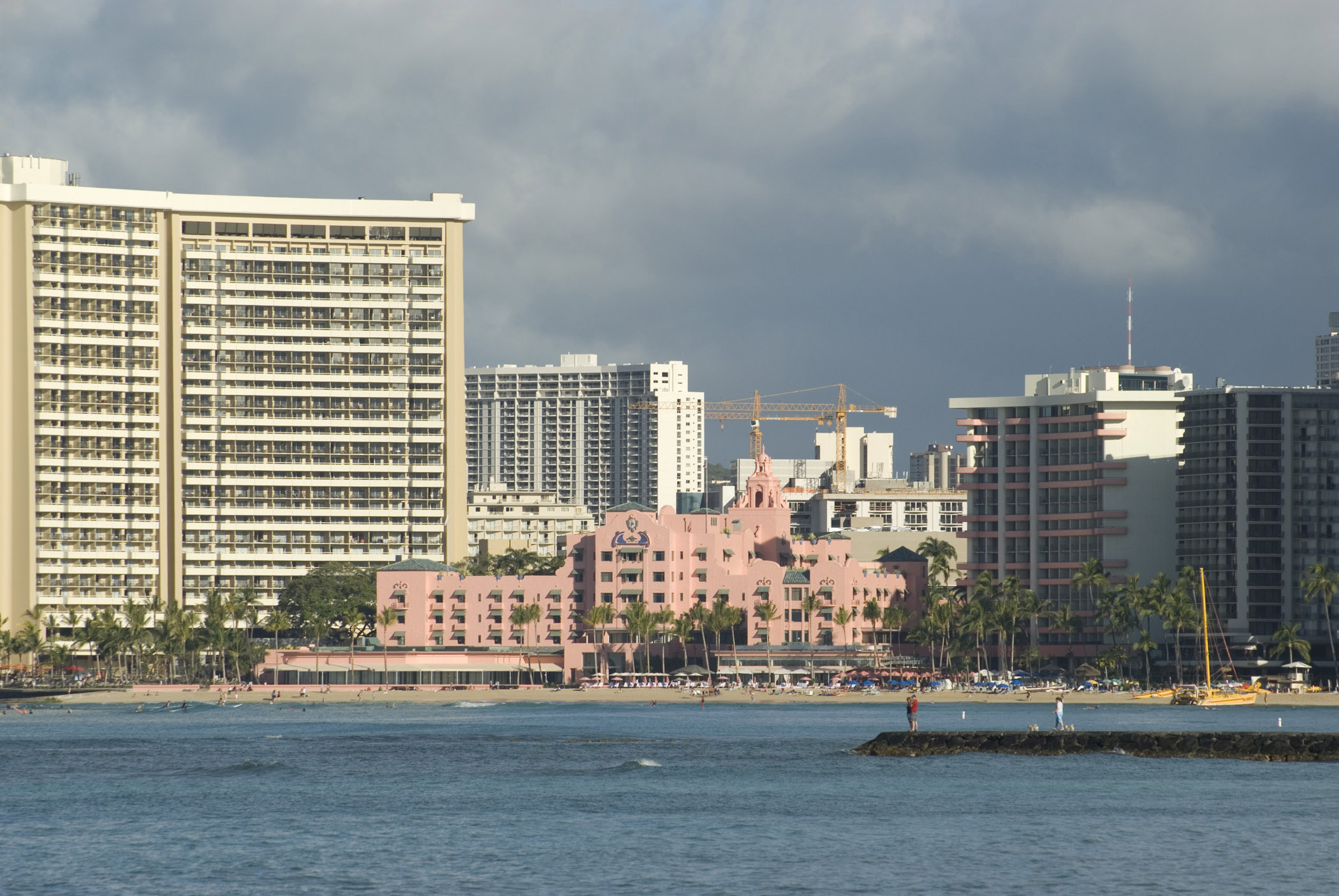 High Rise Architectural Resort Hotels and Business Buildings on Stormy Sky Background.