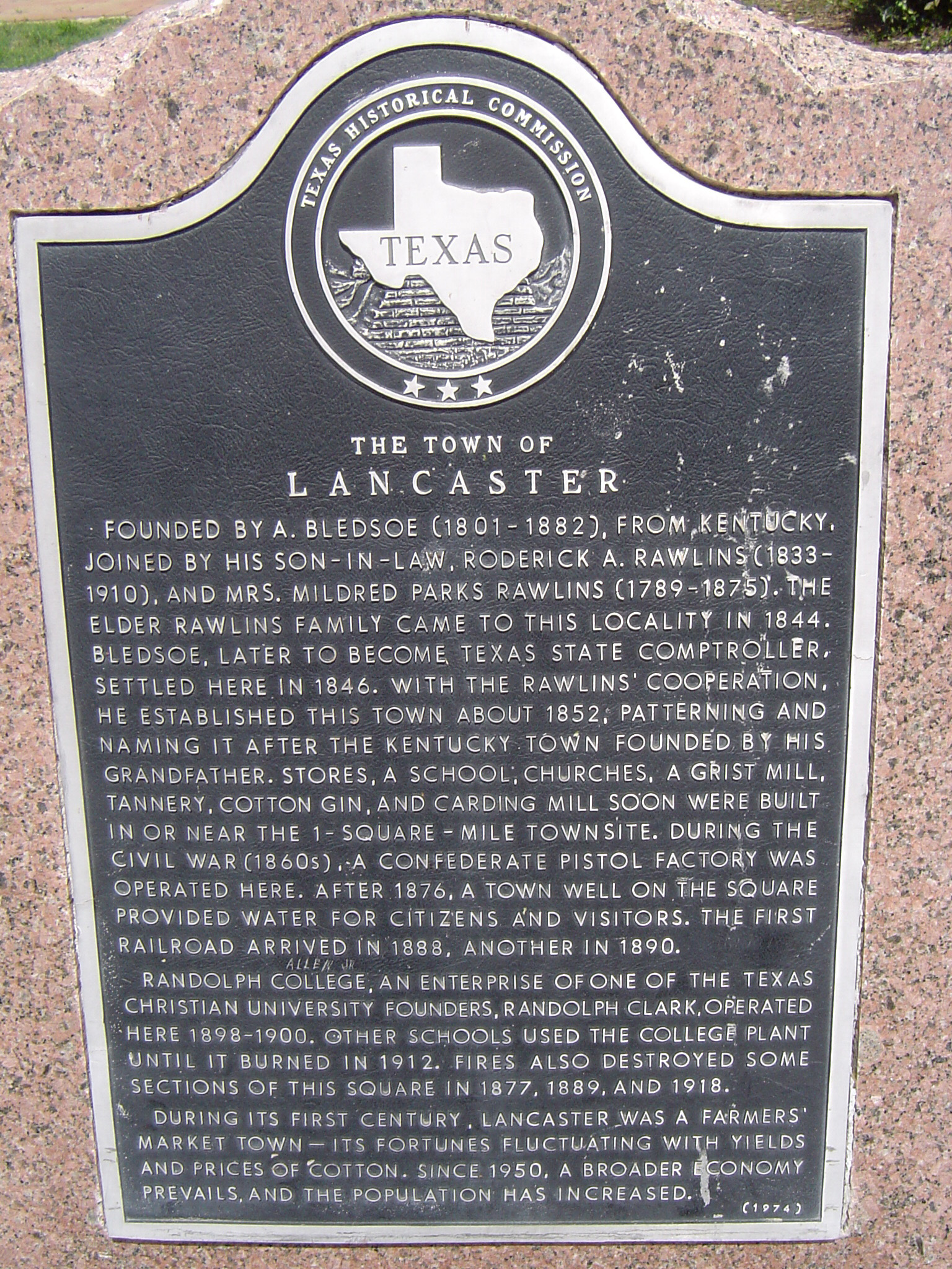 Informational plaque on the town of Lancaster, Texas, USA giving the history of its founding and expansion
