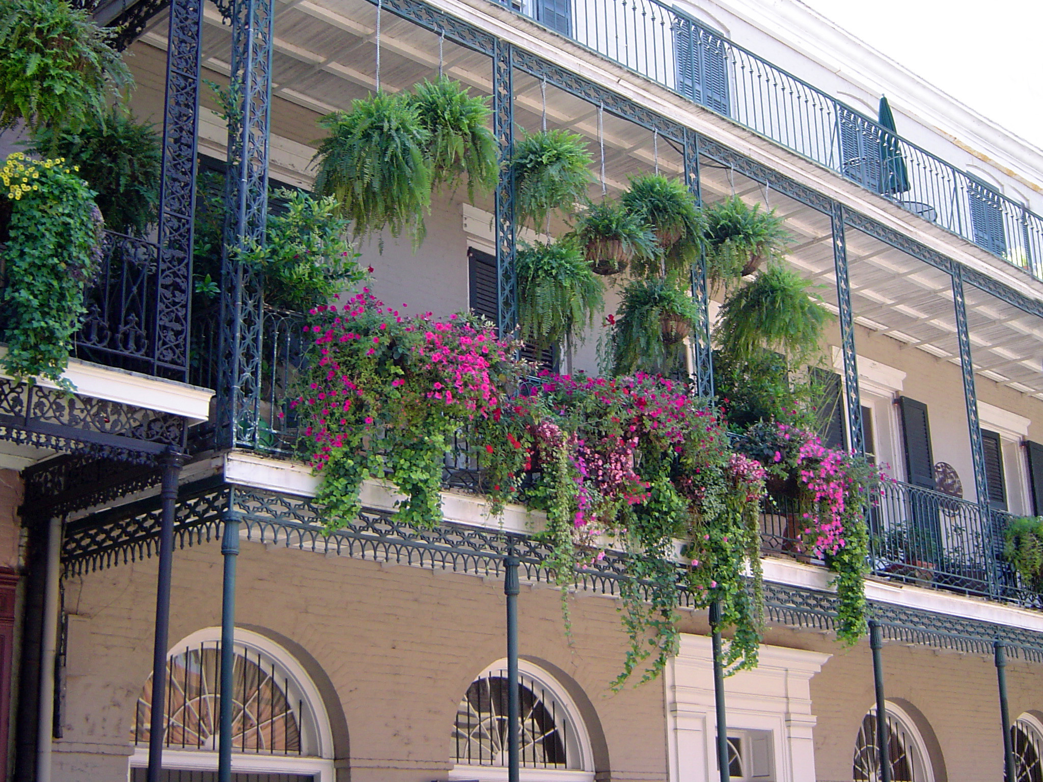 Architectural Building with Outdoor Floral Decorations at New Orleans