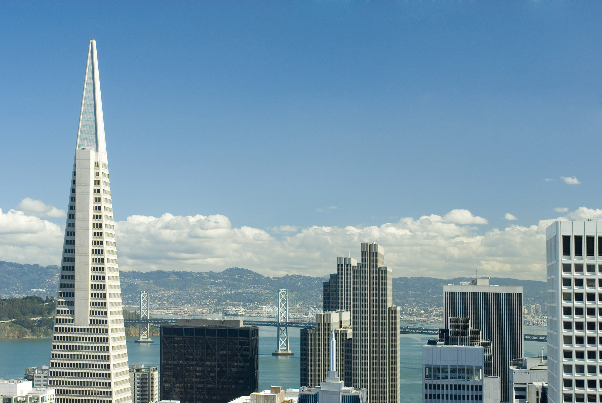 City Building Infrastructures at San Francisco with Long Bridge View at Afar. Isolated on Light Blue Sky Background.