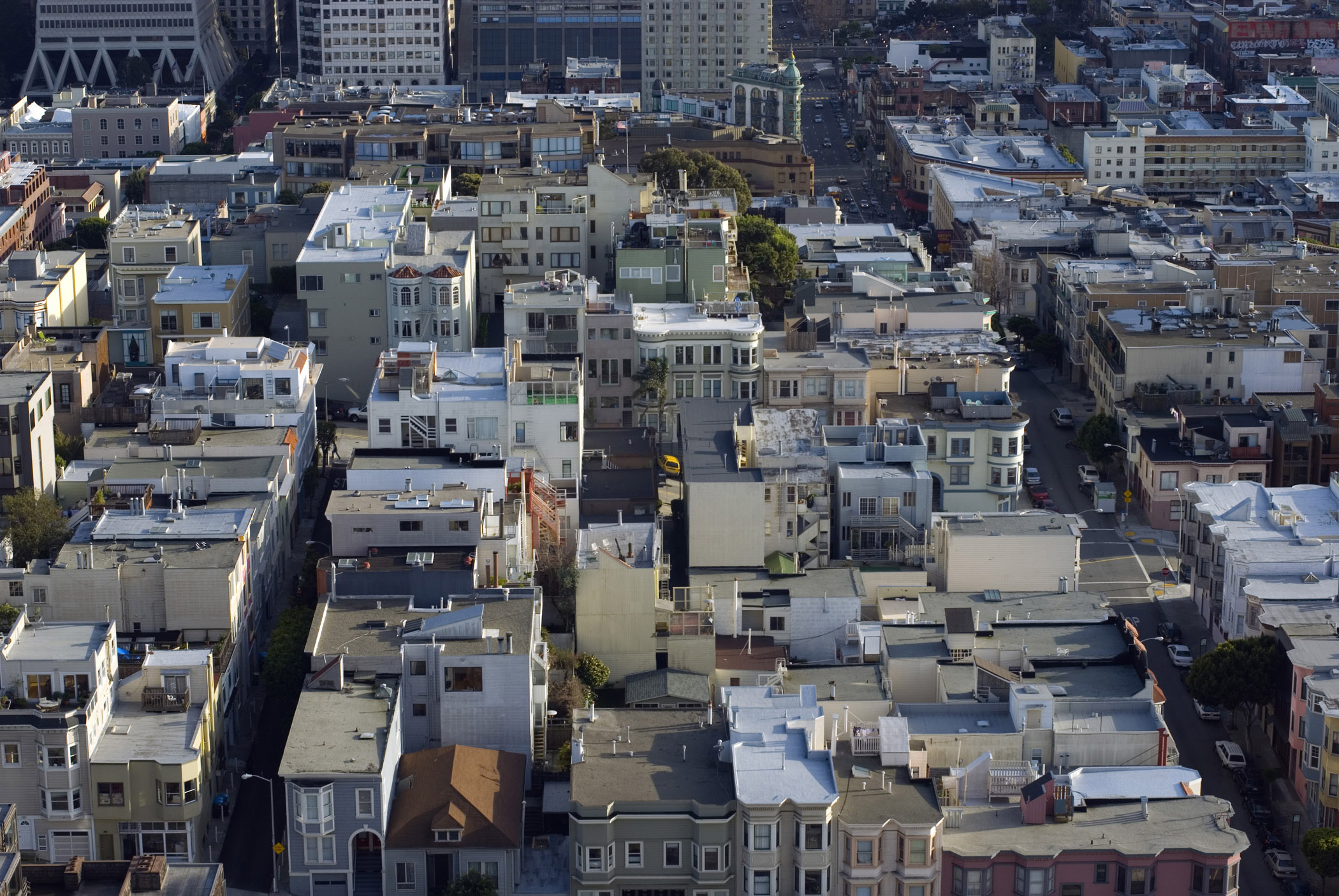 Aerial view over San Francisco, California, USA, rooftops in an urban sprawl of high-rise buildings