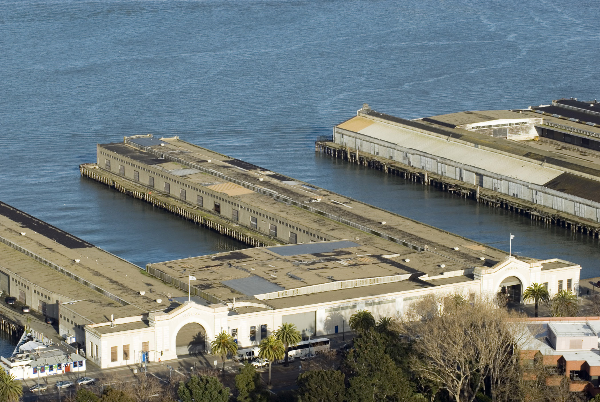Aerial view of the do historical decommissioned San Francisco Piers and warehouses at the docks