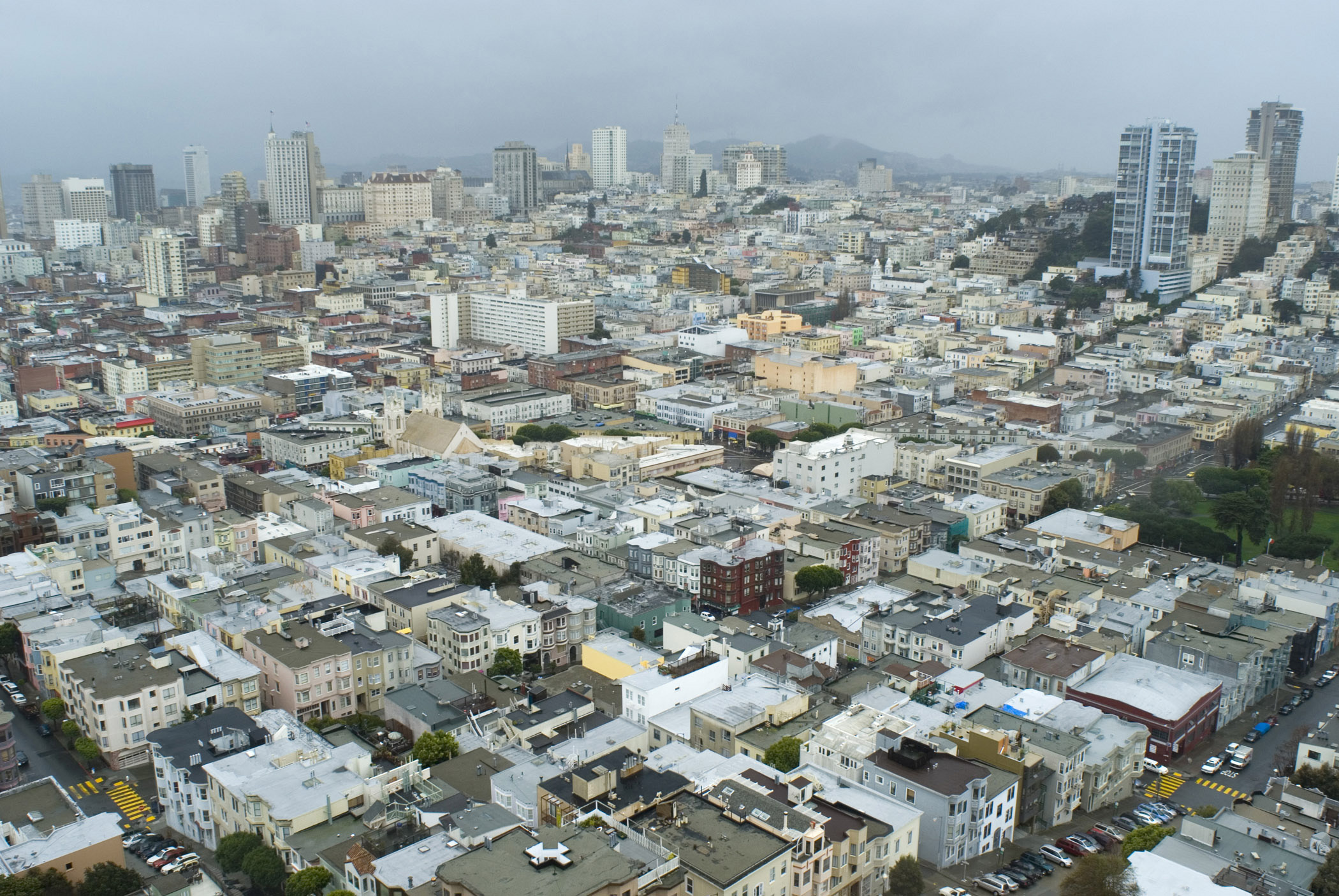 Various Busy City Streets and Buildings in San Francisco. Captured in Aerial Extensive View.