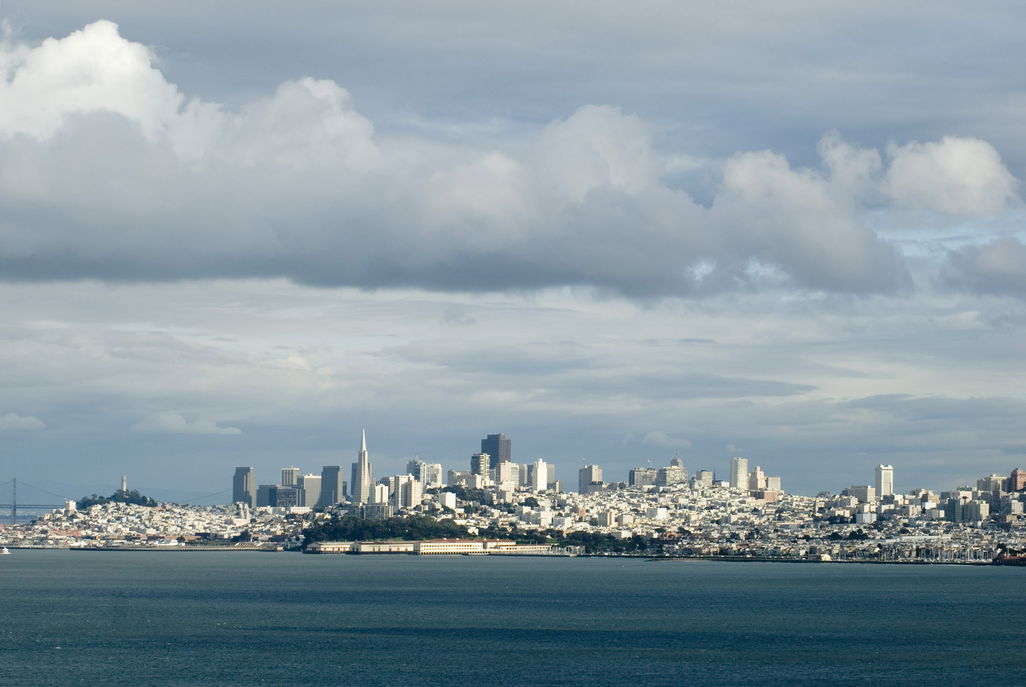Beautiful San Francisco Skyline Extensive View. Captured on a Cloudy Day.