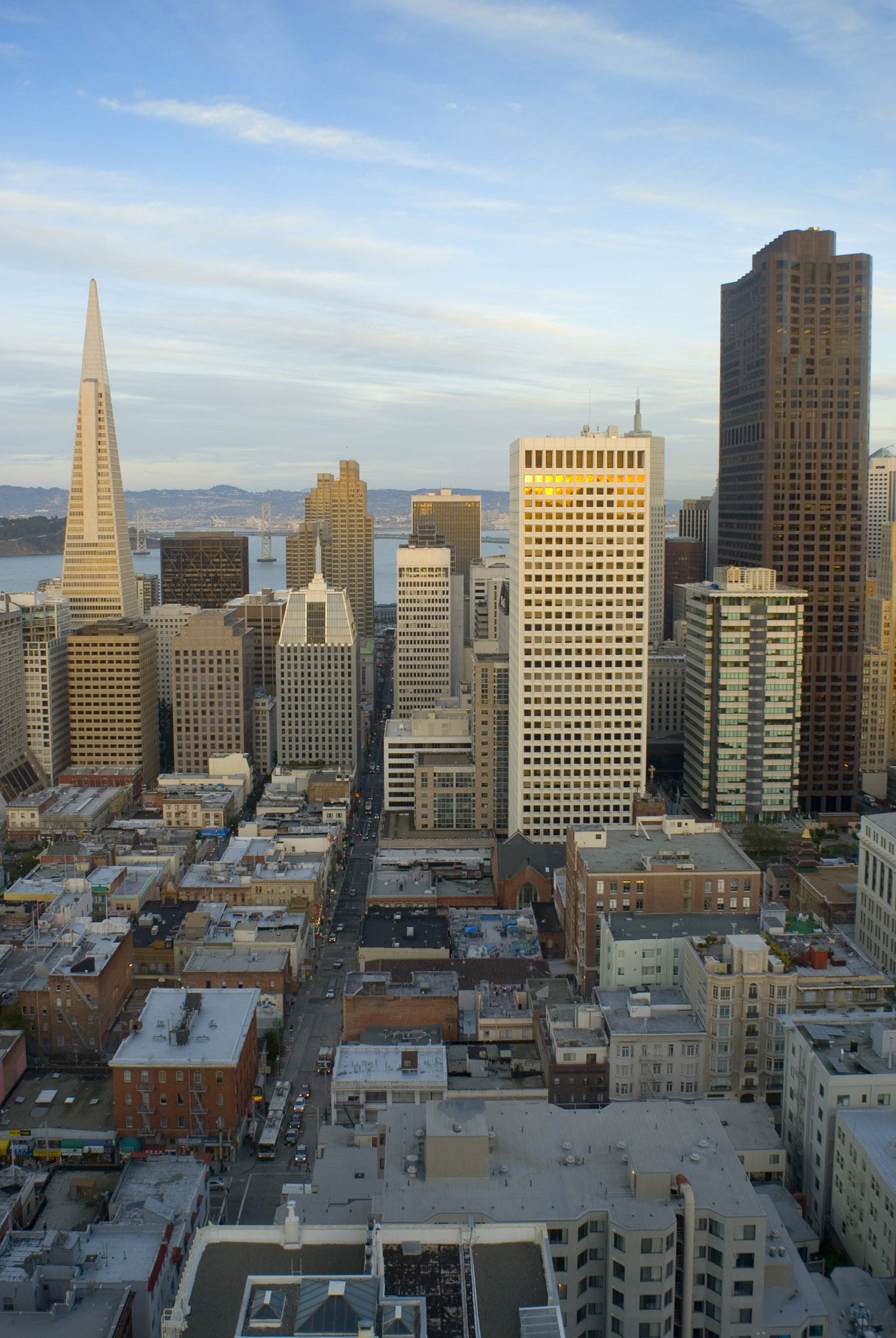 Architectural City Building Structures of San Francisco on Sunset in Aerial View.